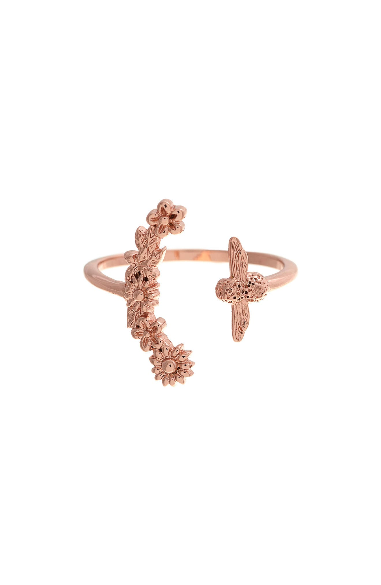 Bee Blooms Ring,                             Alternate thumbnail 3, color,                             Rose Gold