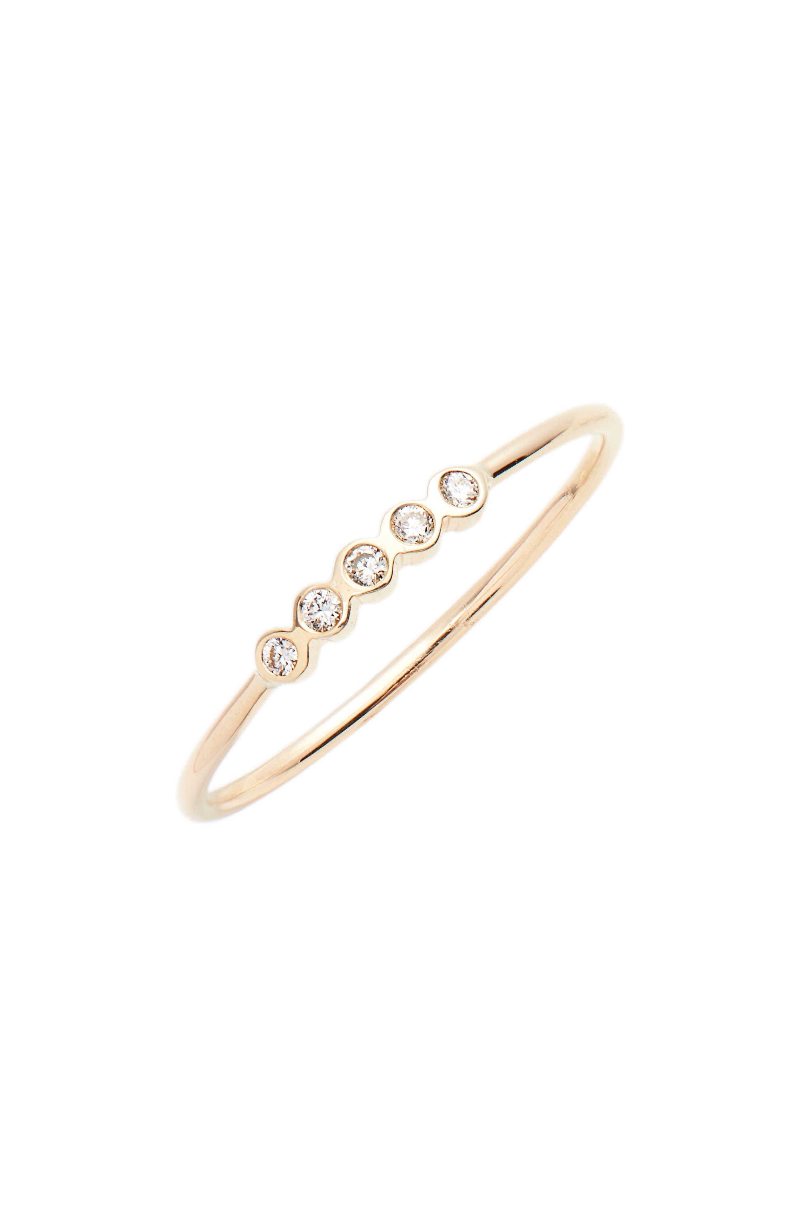 5-Diamond Bezel Stock Ring,                         Main,                         color, Yellow Gold