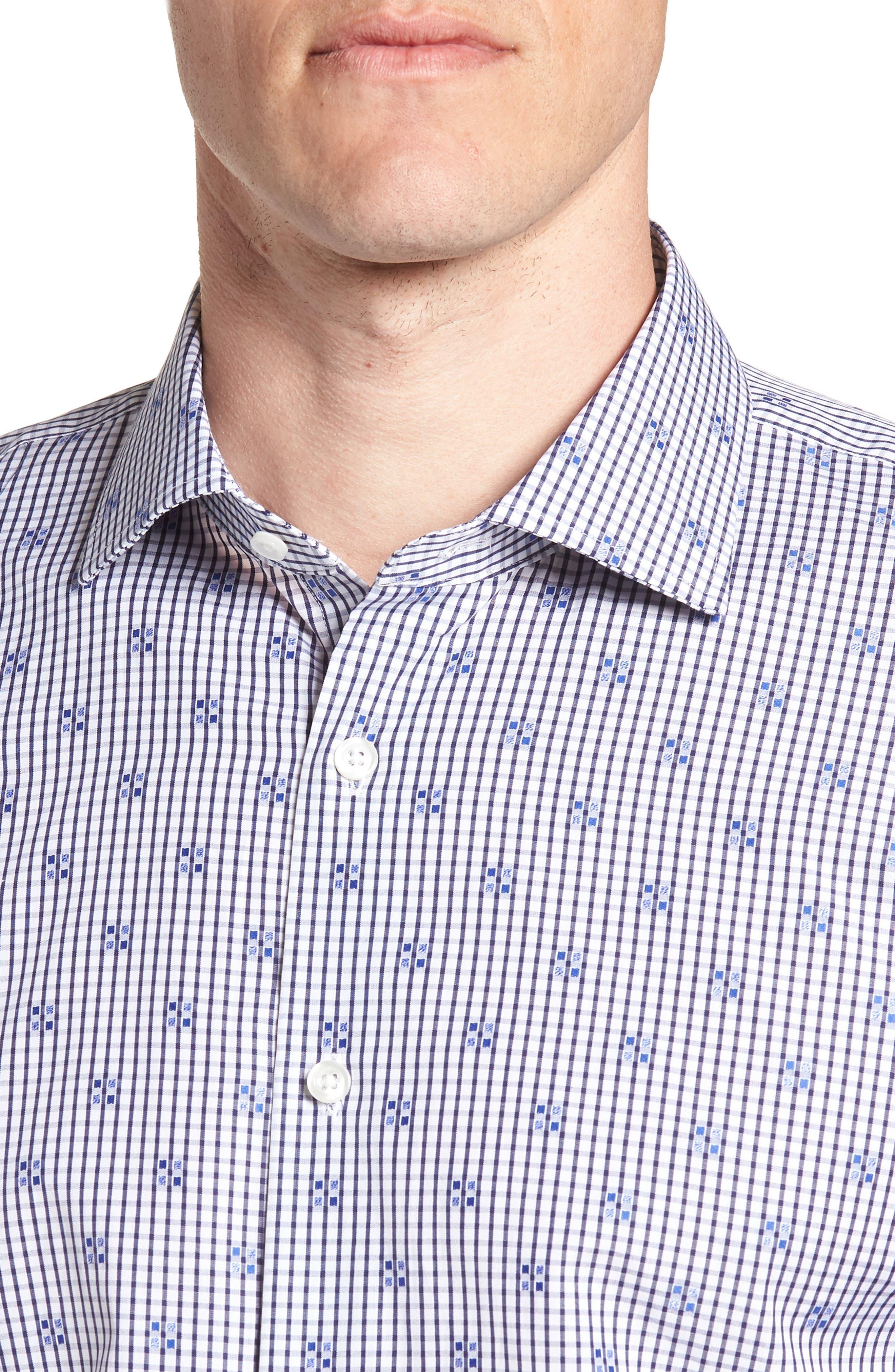 Trim Fit Check Dress Shirt,                             Alternate thumbnail 2, color,                             Navy Iris