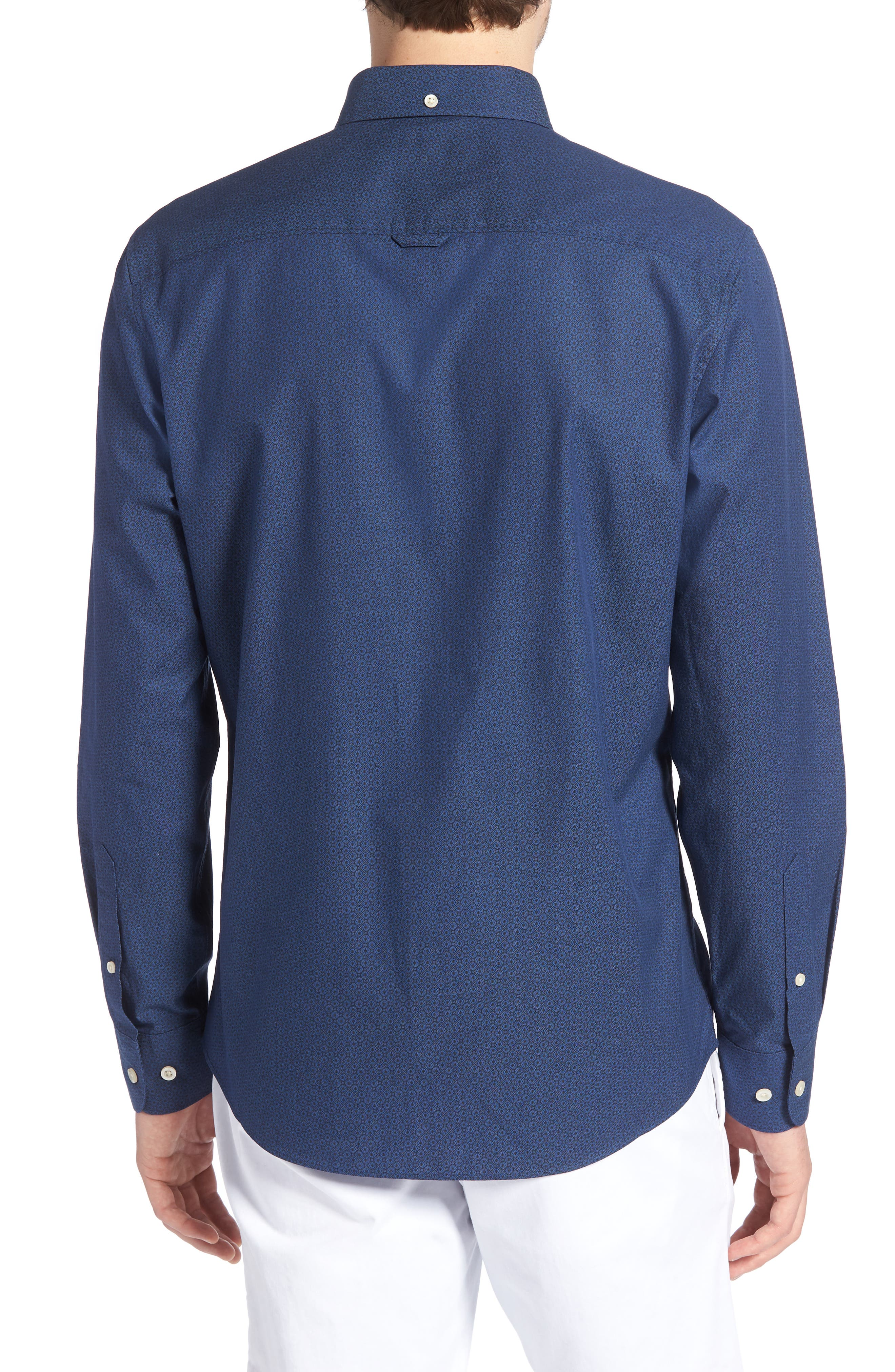 Trim Fit Round Pocket Sport Shirt,                             Alternate thumbnail 3, color,                             Blue Black Flower Print