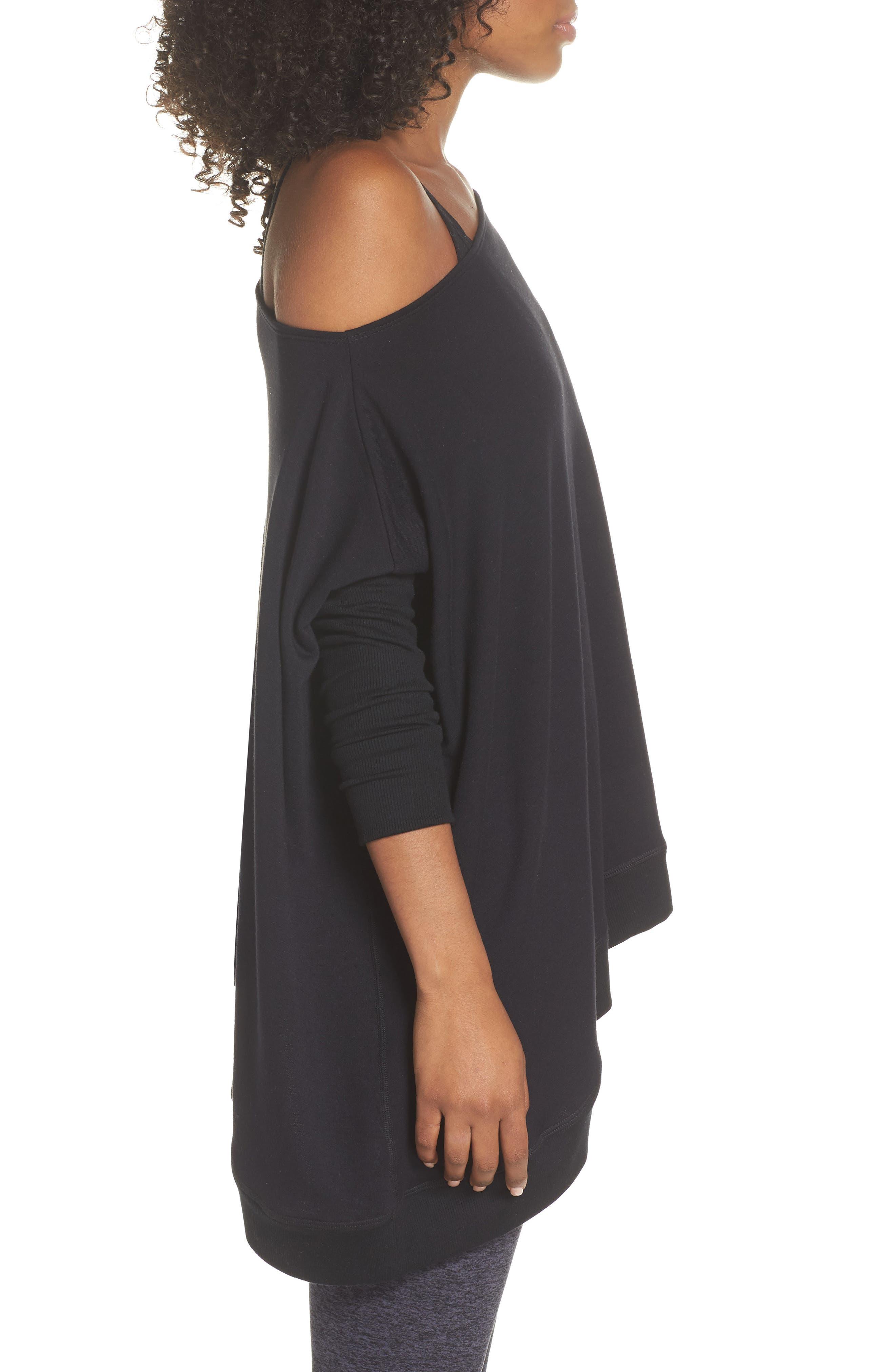 'Cozy' Convertible Fleece Pullover,                             Alternate thumbnail 6, color,                             Black