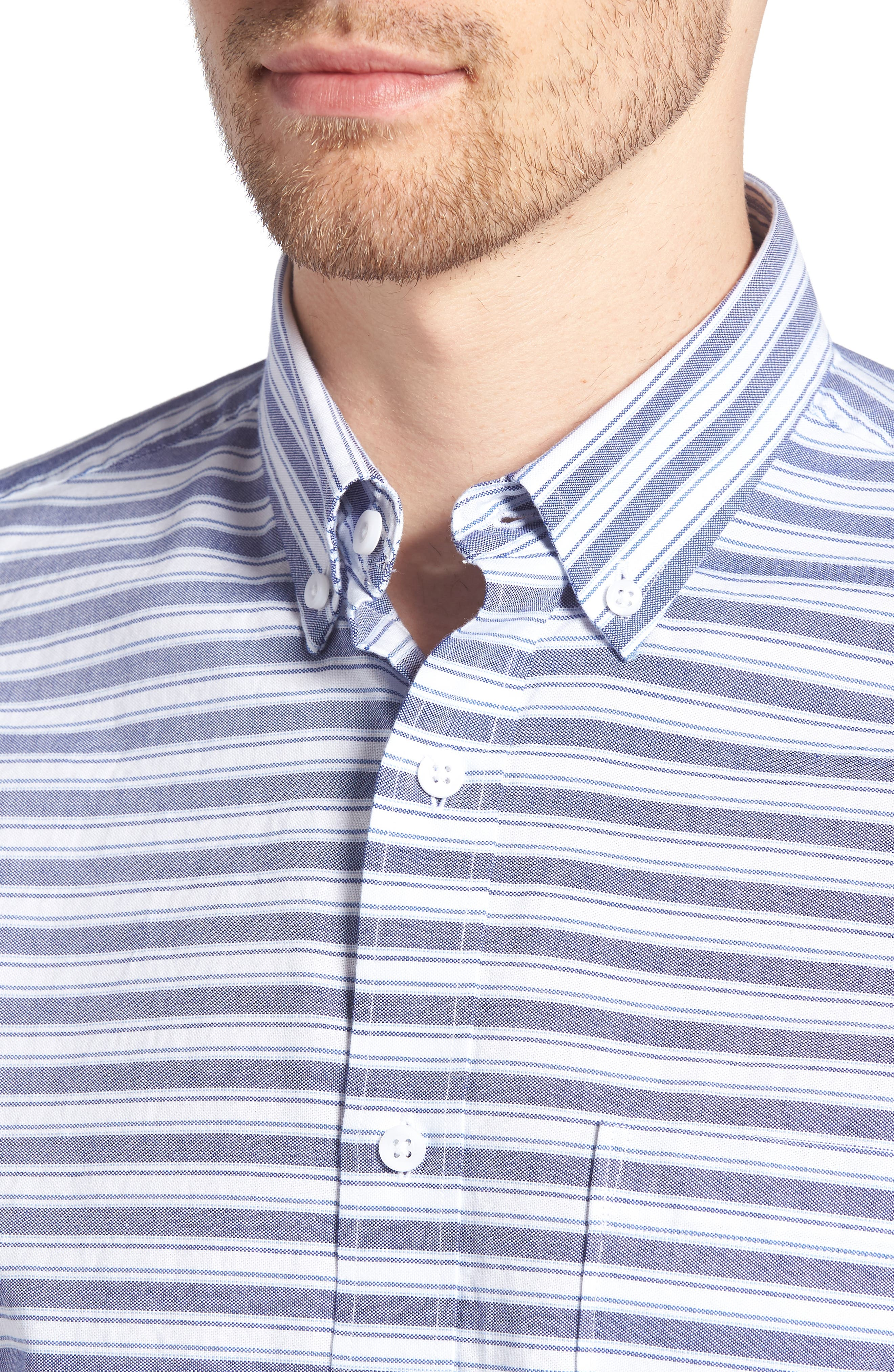 Trim Fit Stripe Round Pocket Sport Shirt,                             Alternate thumbnail 2, color,                             Tonal Blue Stripe