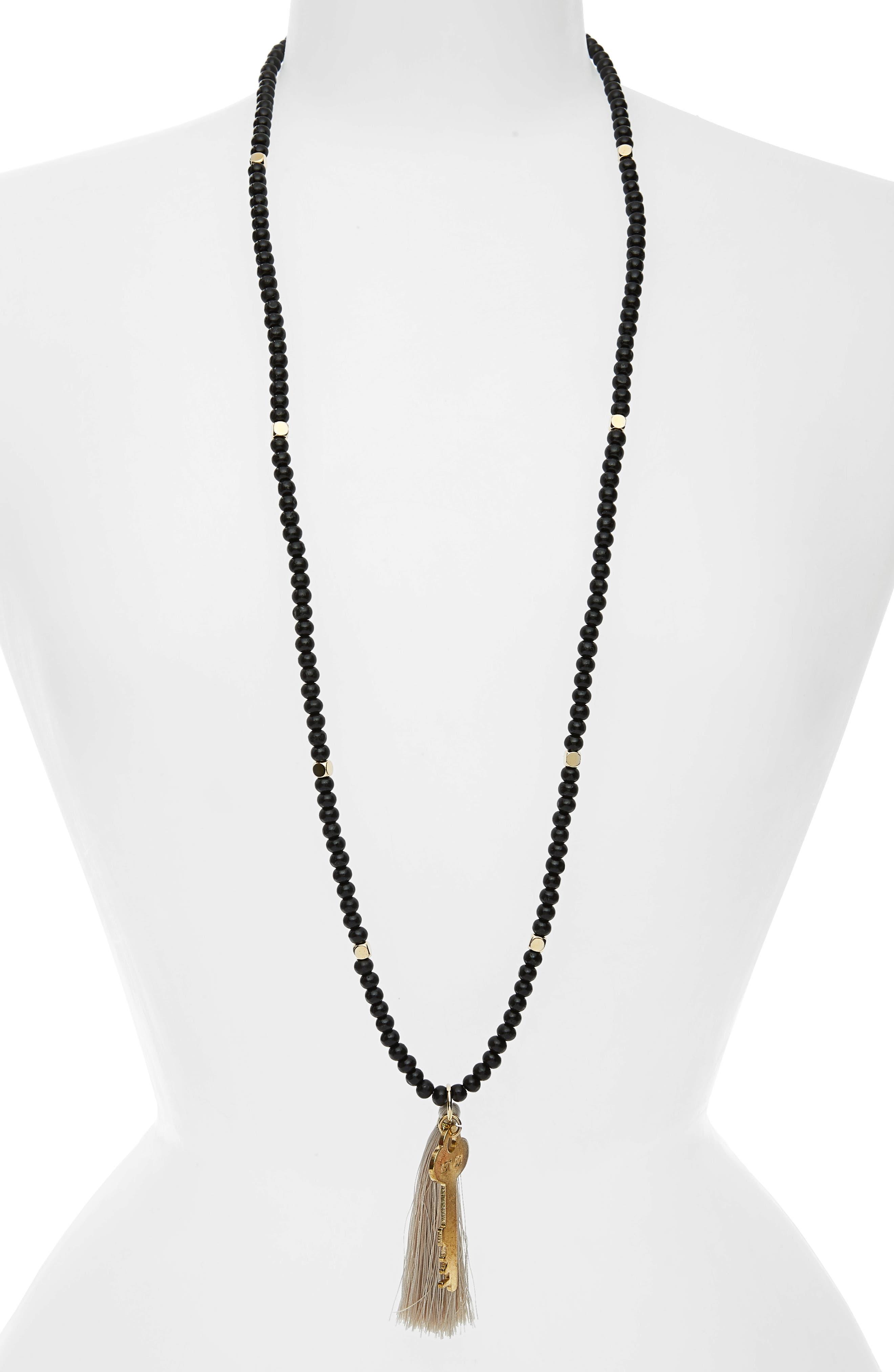 Inspiration Key Charm & Tassel Beaded Necklace,                             Main thumbnail 1, color,                             Ebony/ Gold- Let Go