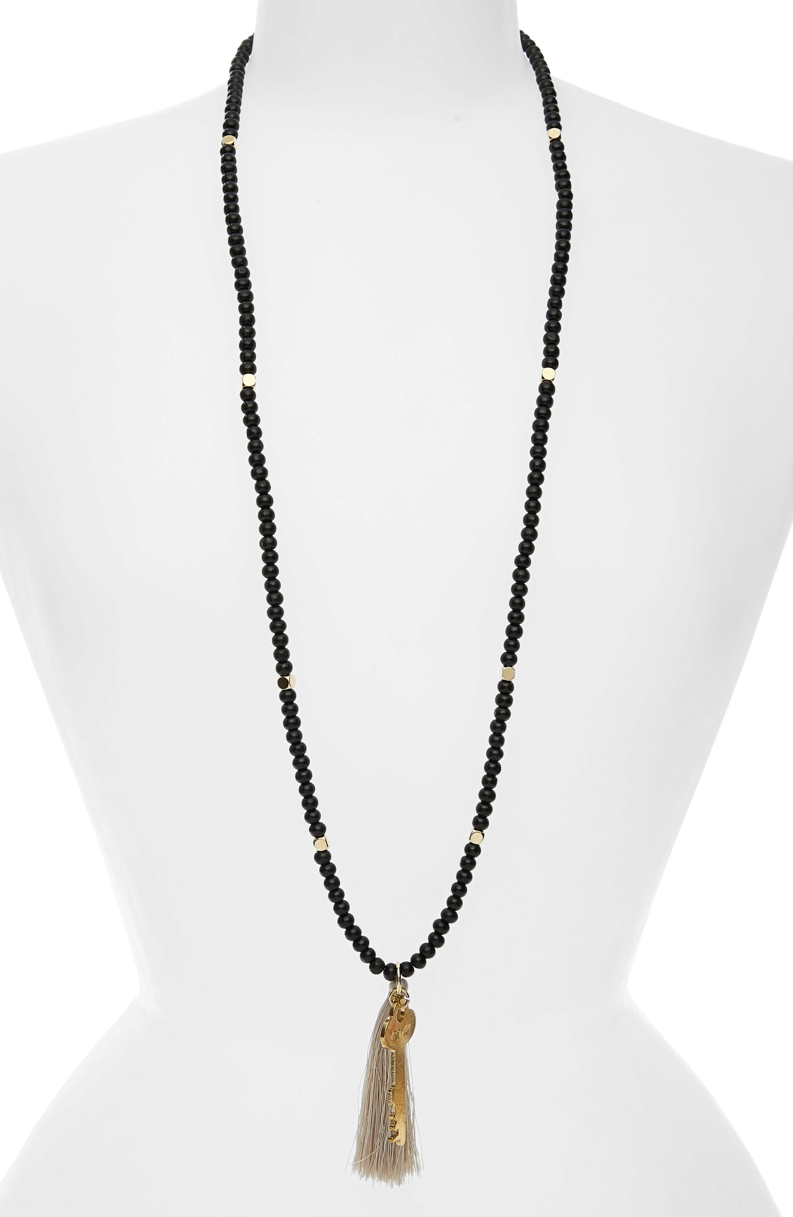Inspiration Key Charm & Tassel Beaded Necklace,                         Main,                         color, Ebony/ Gold- Let Go