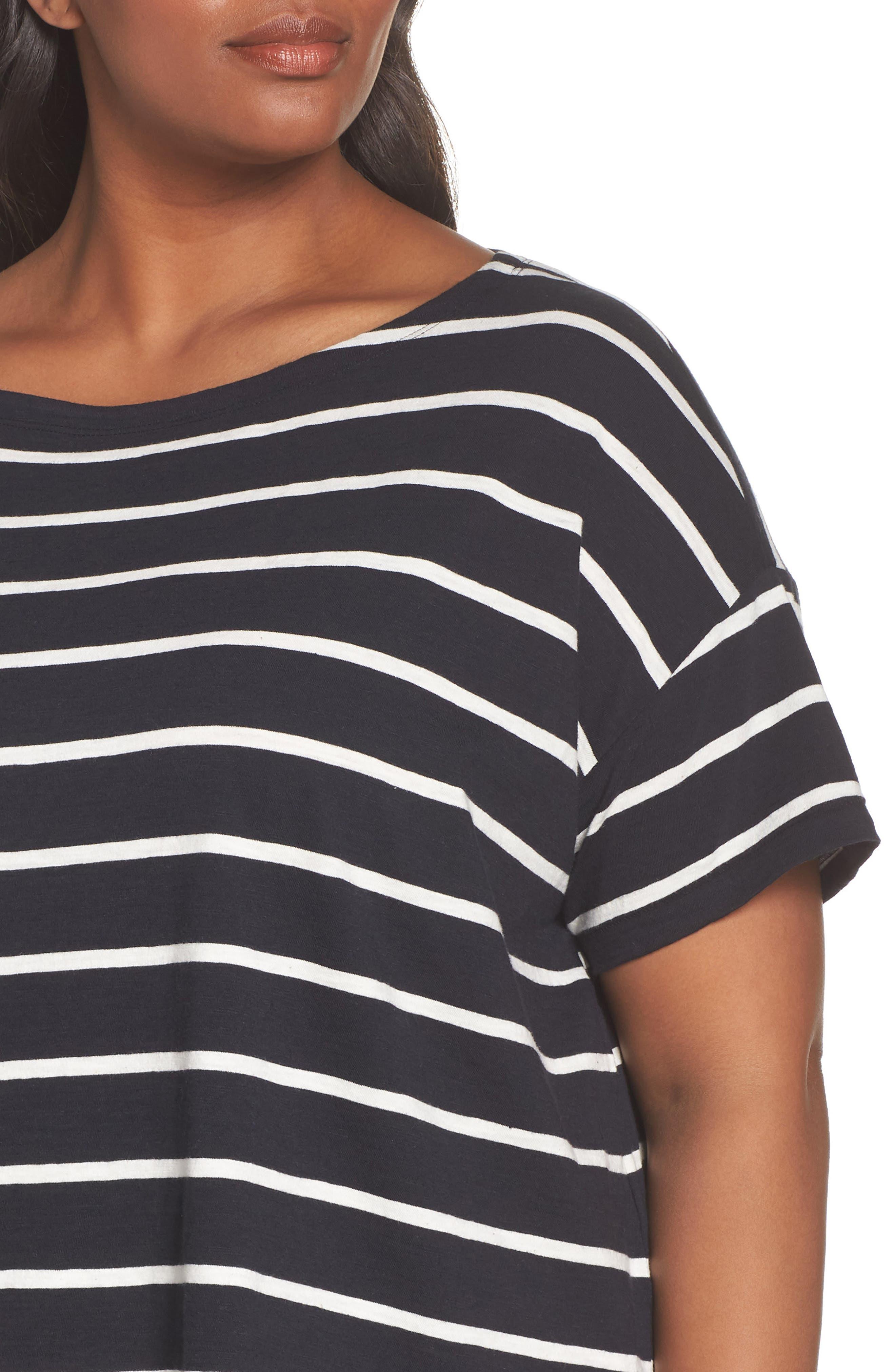 Stripe Organic Cotton Top,                             Alternate thumbnail 4, color,                             Black/ White