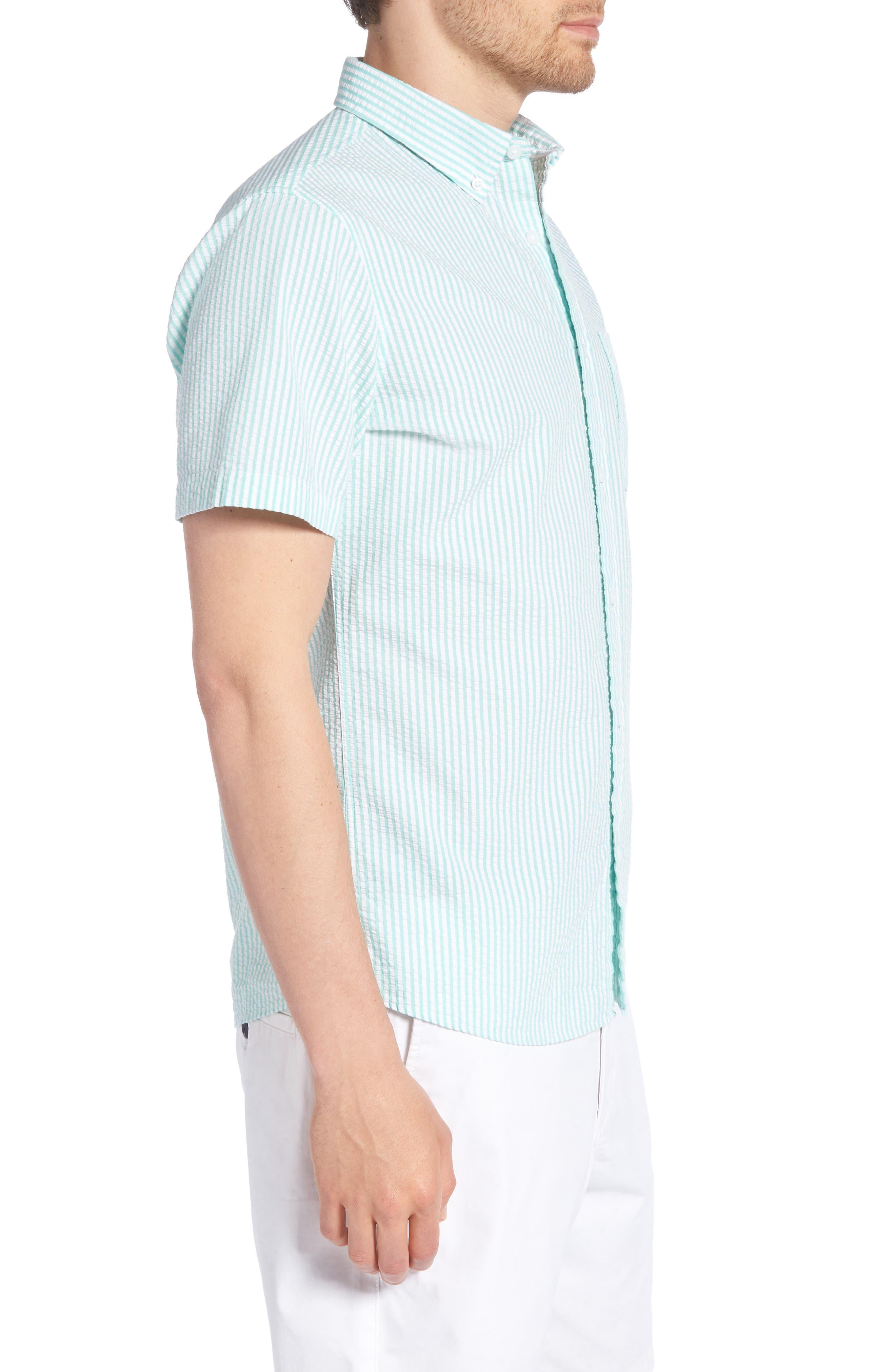 Trim Fit Seersucker Short Sleeve Sport Shirt,                             Alternate thumbnail 4, color,                             White Green Seersucker Stripe