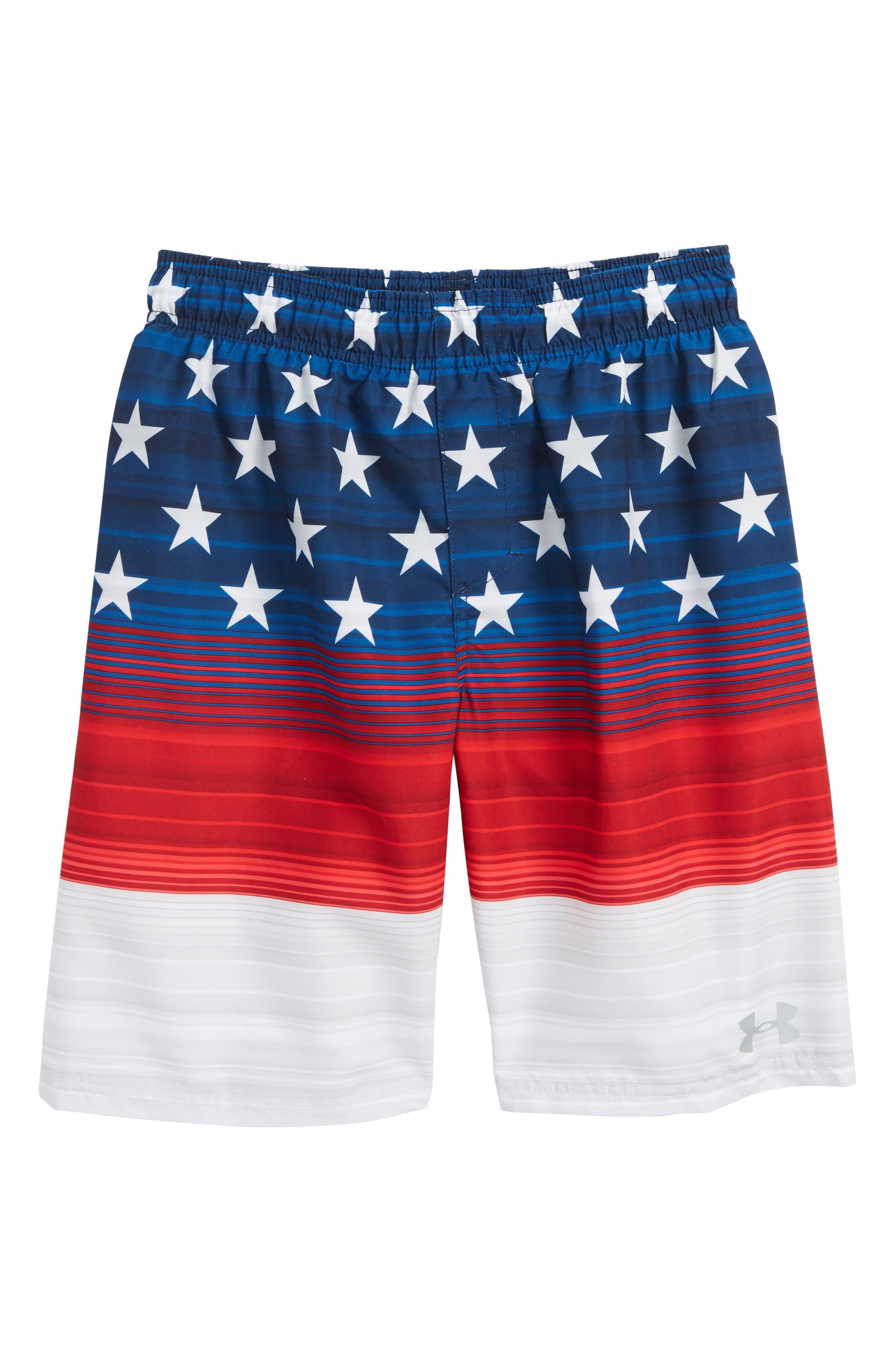 Americana Stripe Volley Shorts,                             Main thumbnail 1, color,                             Red