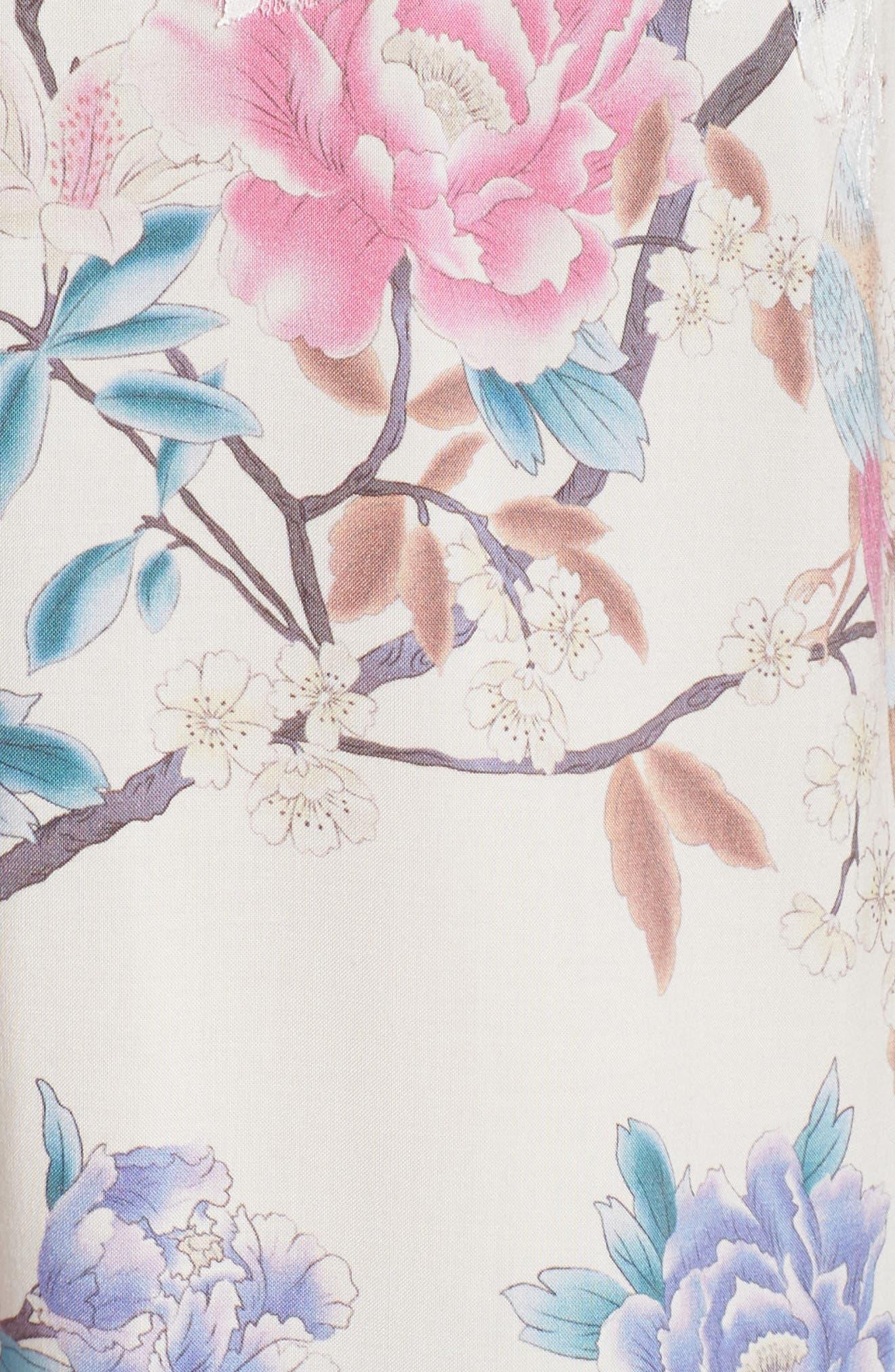 Talulah Boho Chemise,                             Alternate thumbnail 6, color,                             Ivory Floral