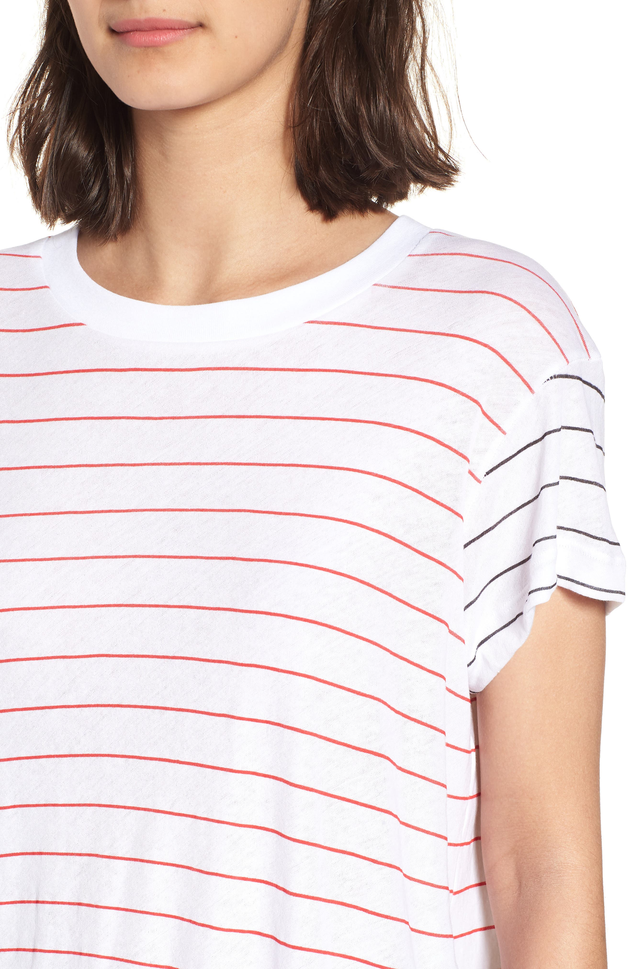 Simple Stripe Tee,                             Alternate thumbnail 4, color,                             Clean White