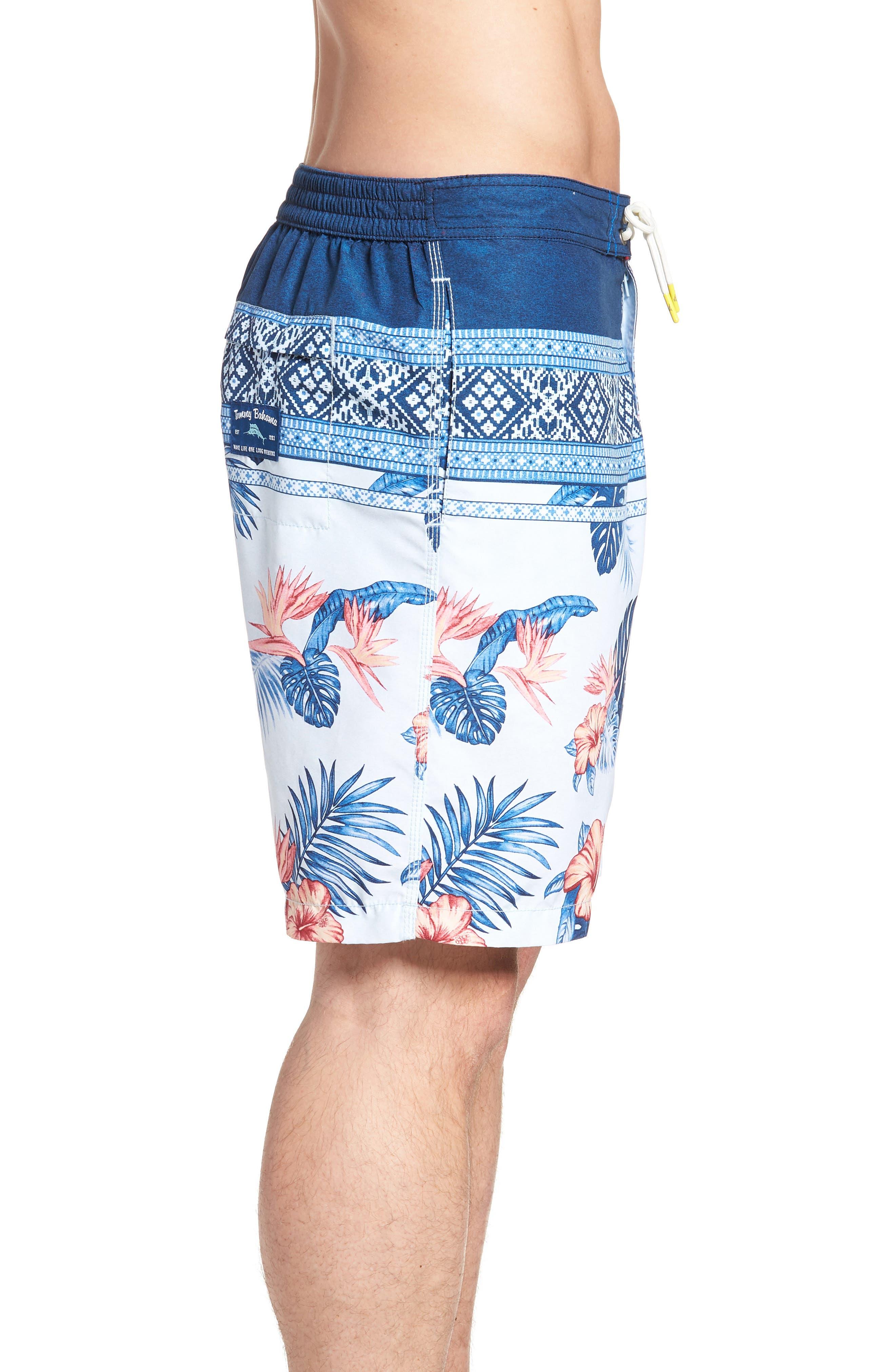 Baja Casa Rosa Board Shorts,                             Alternate thumbnail 3, color,                             Mountain Bluebell