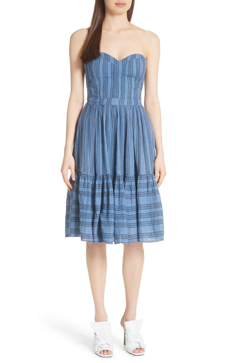 Gauzy Metallic Stripe Strapless Dress