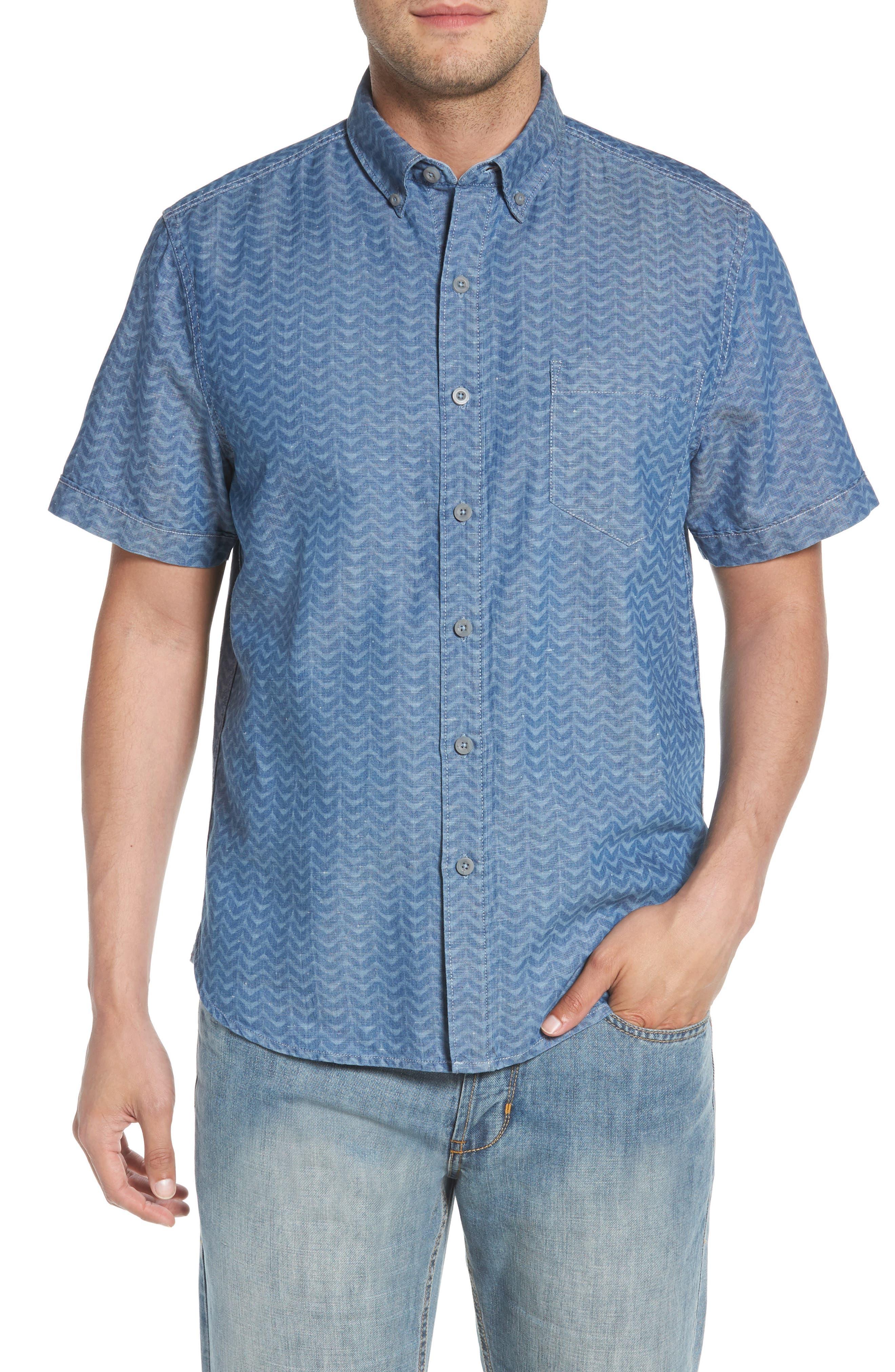 Chevron Cantina Sport Shirt,                         Main,                         color, Light Indigo