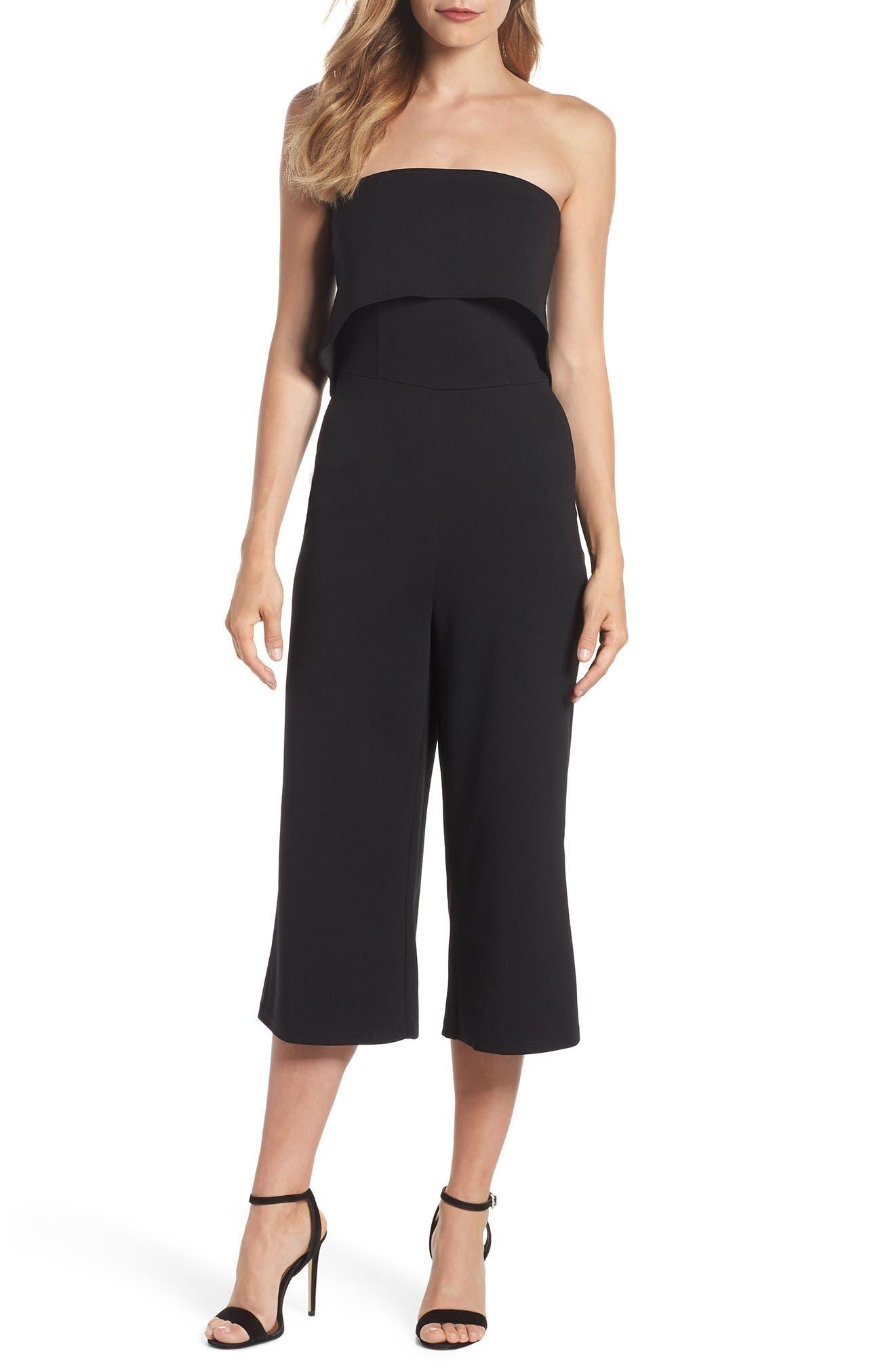 Strapless Culotte Jumpsuit,                             Main thumbnail 1, color,                             Black