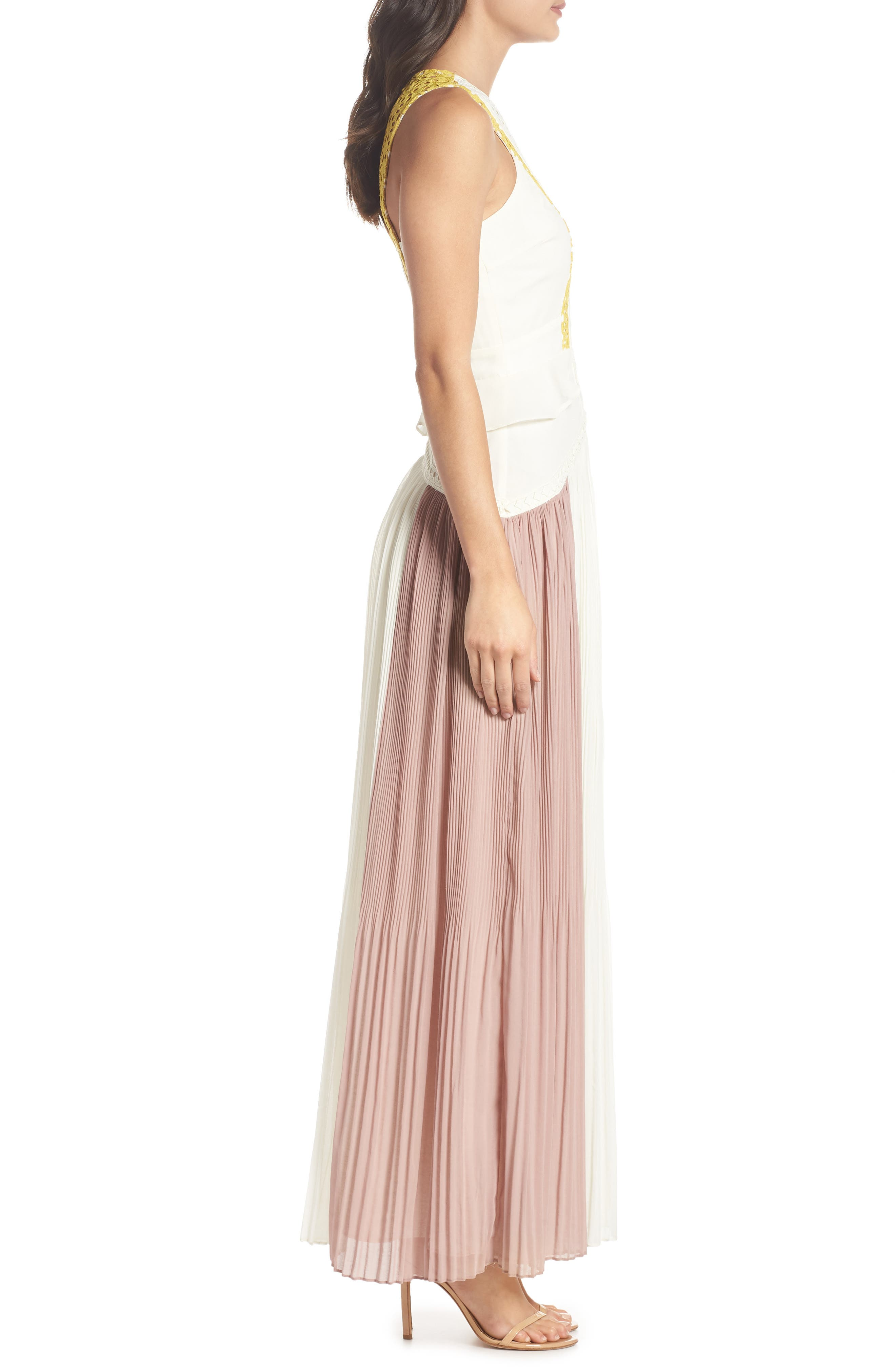 Colorblock Pleated Gown,                             Alternate thumbnail 3, color,                             Off White/ Pink