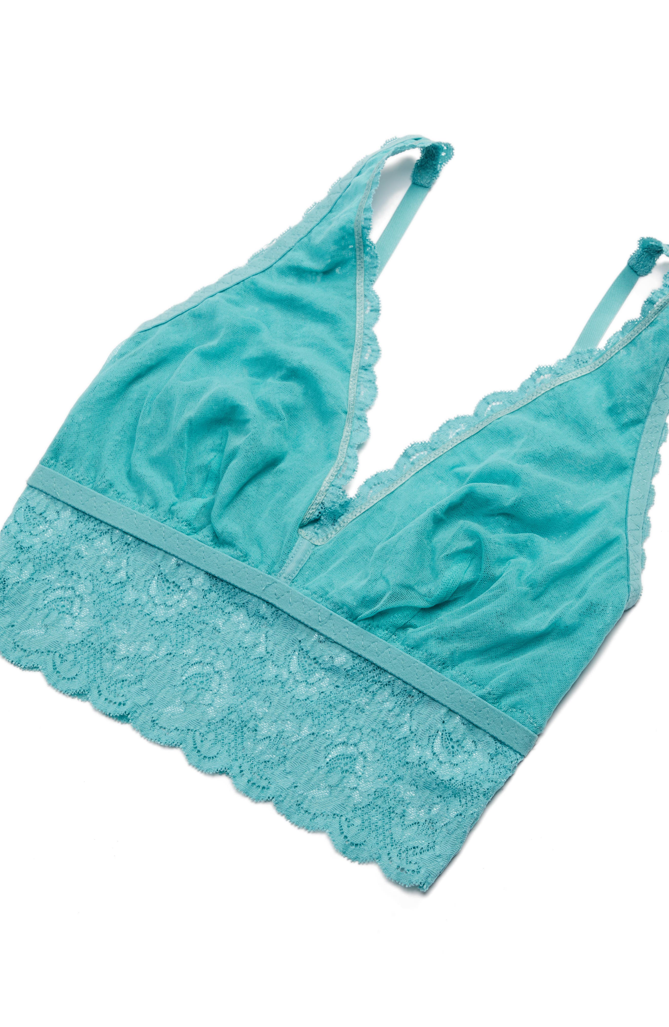 Plunging Lace Bralette,                             Alternate thumbnail 7, color,                             Dusty Turquoise