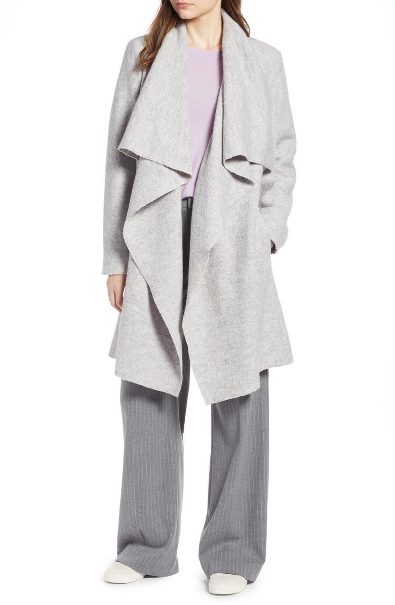 Boiled Wool Blend Drape Front Coat