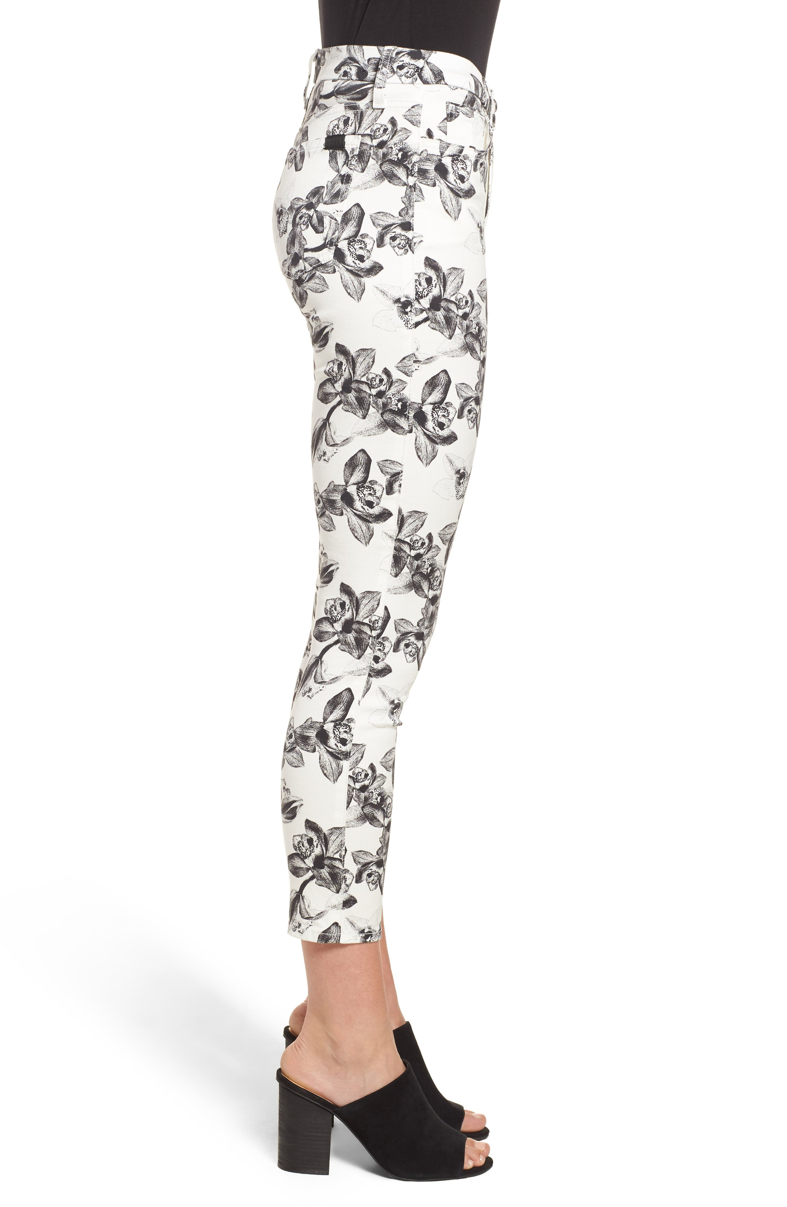 Print Crop Skinny Jeans,                             Alternate thumbnail 3, color,                             White/ Black Orchid
