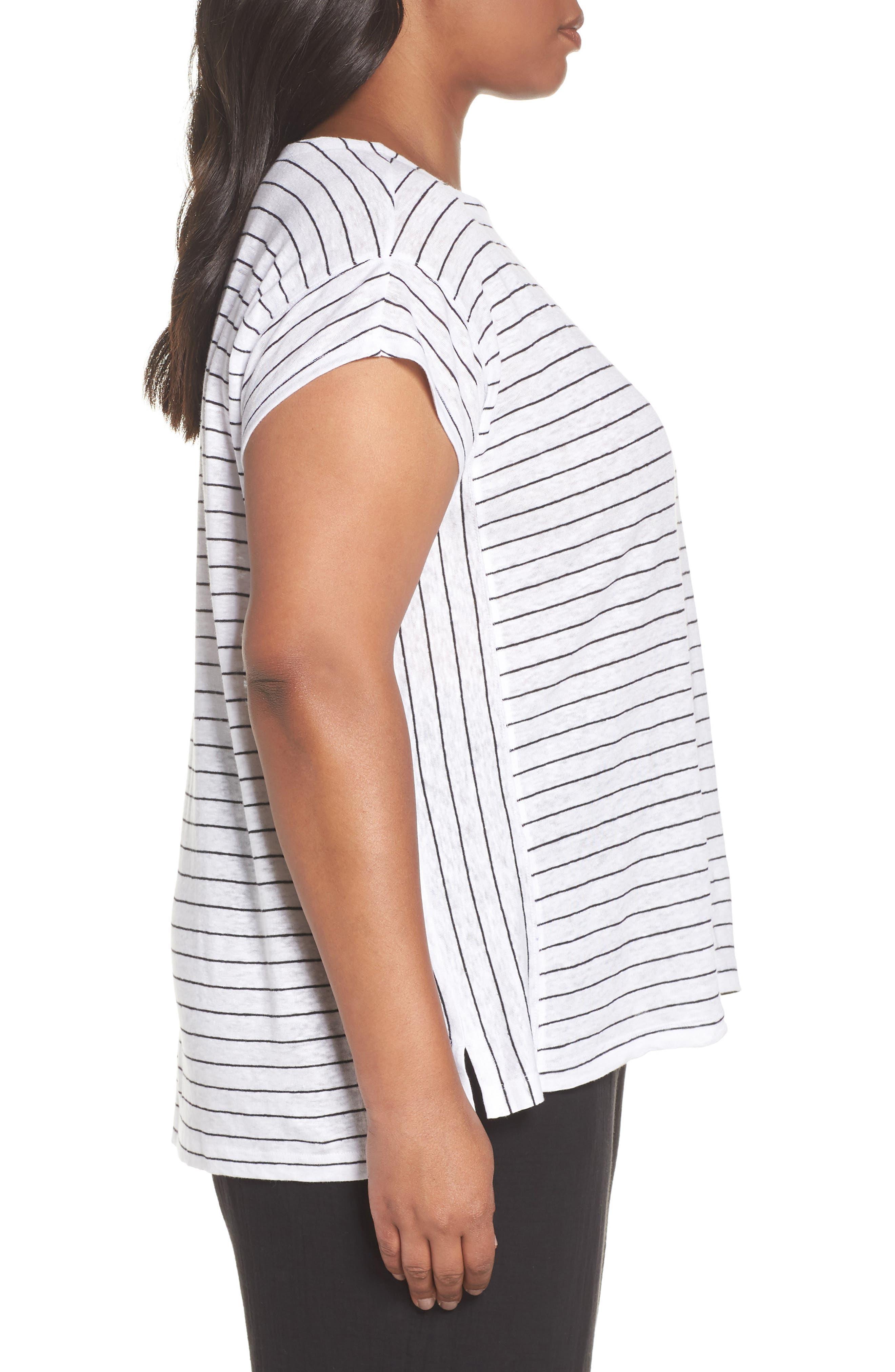 Bateau Neck Stripe Linen Top,                             Alternate thumbnail 3, color,                             White/ Black