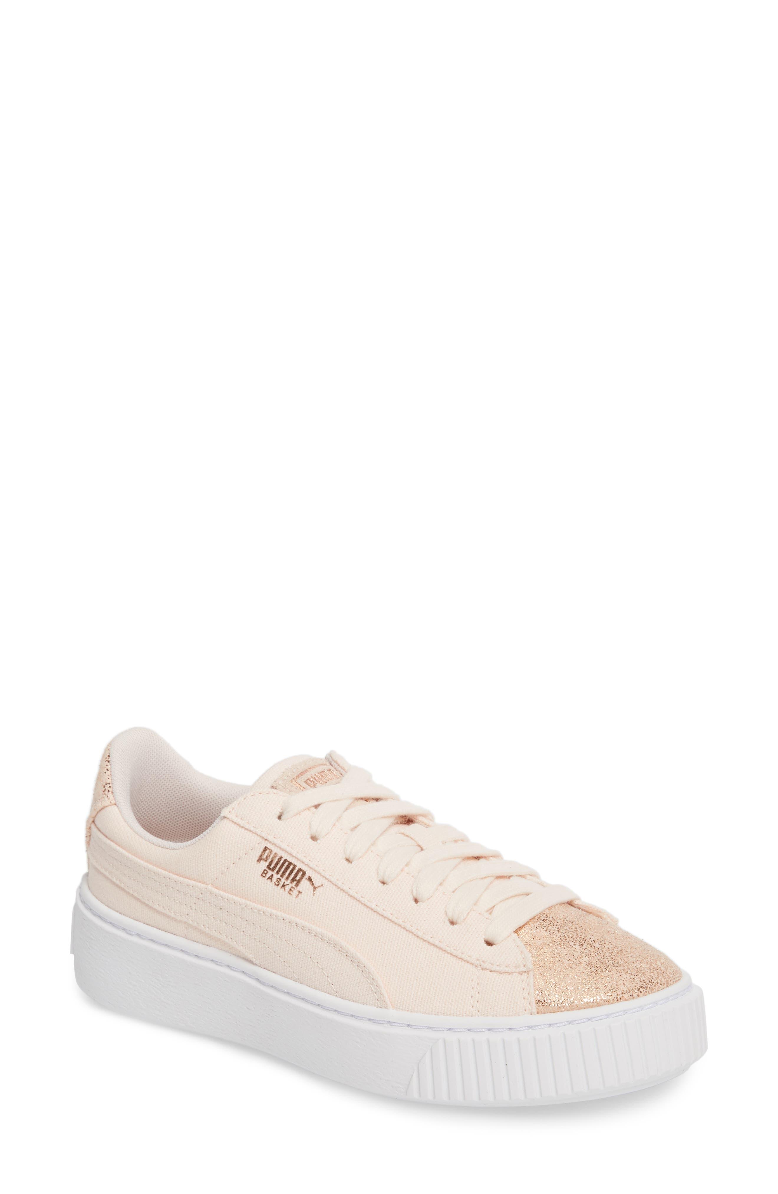 Basket Platform Sneaker,                             Main thumbnail 1, color,                             Pearl/ Rose Gold