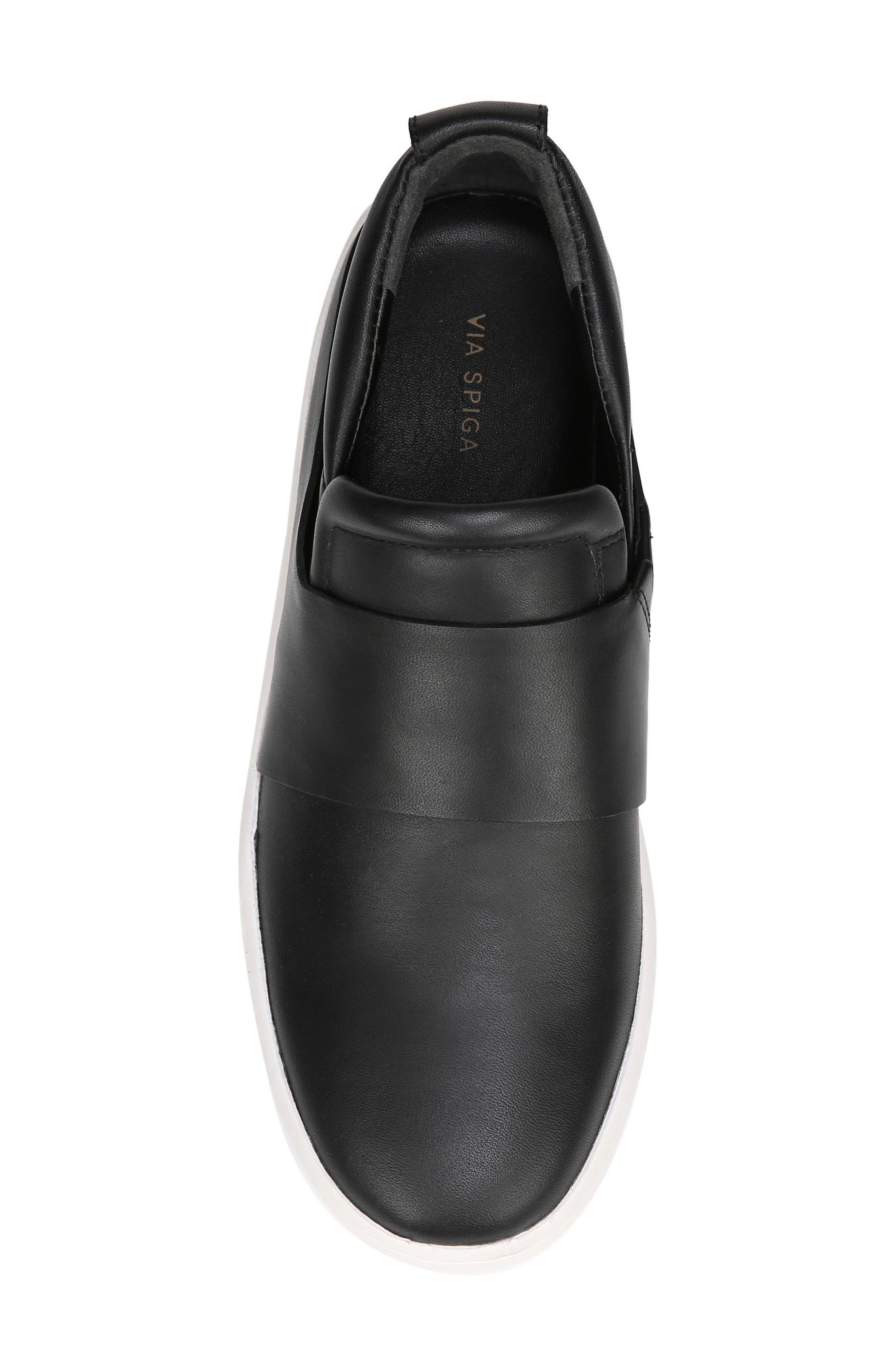 Ryder Slip-On Sneaker,                             Alternate thumbnail 5, color,                             Black Leather