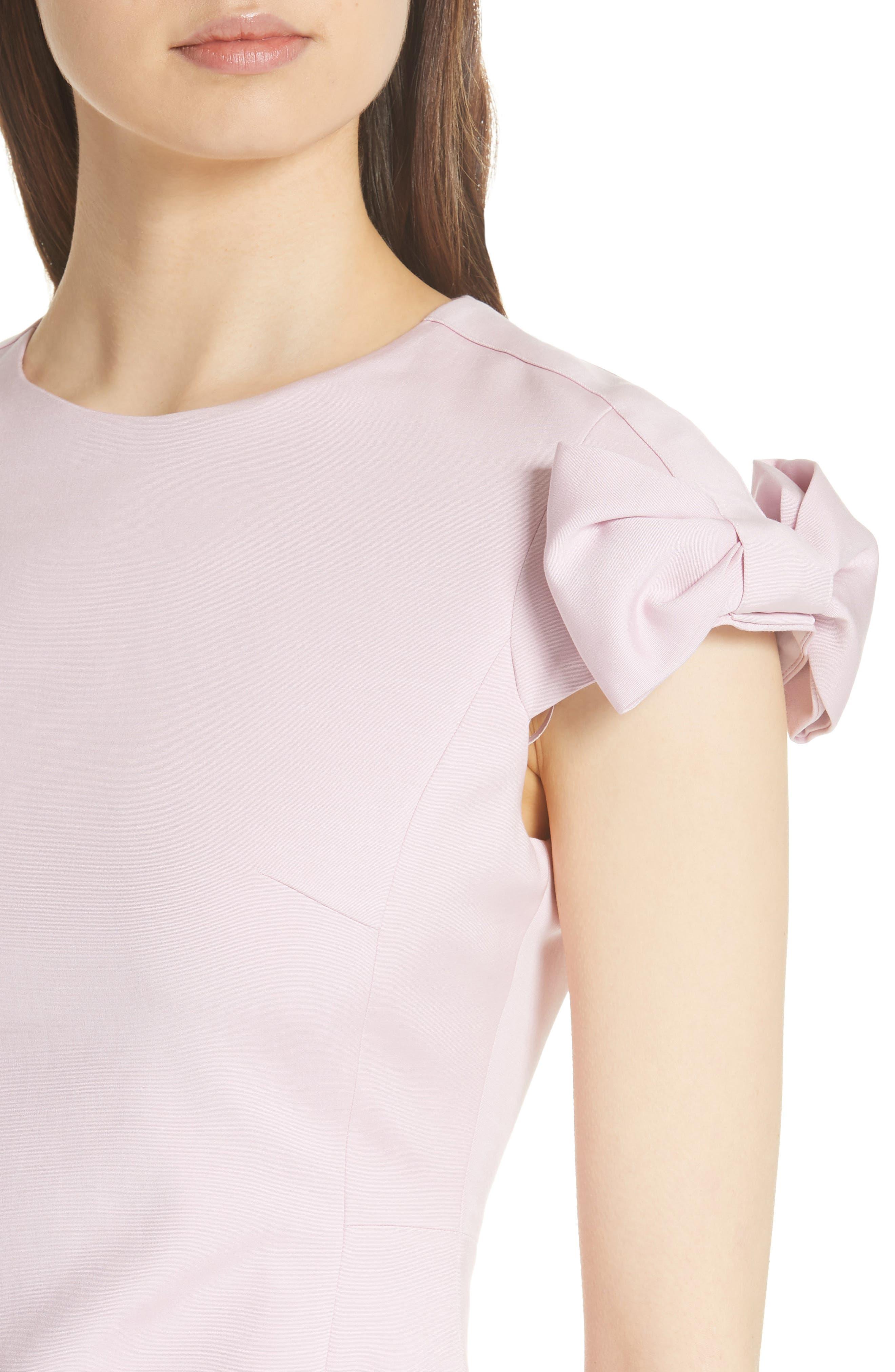 Bow Shoulder Pencil Dress,                             Alternate thumbnail 4, color,                             Lilac
