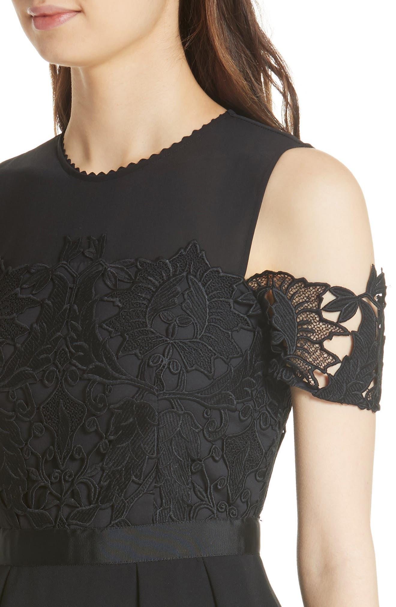 Structured Lace Cold Shoulder Midi Dress,                             Alternate thumbnail 4, color,                             Black