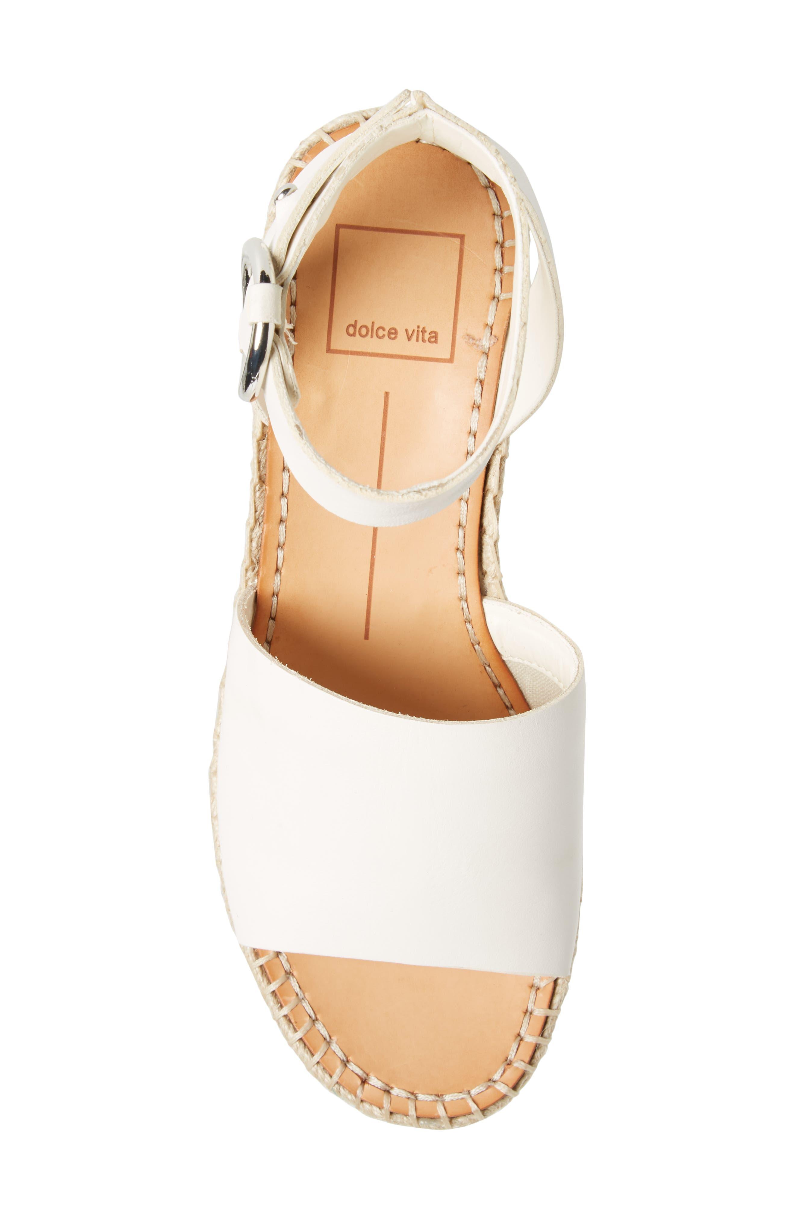 Lesly Espadrille Platform Sandal,                             Alternate thumbnail 5, color,                             Off White