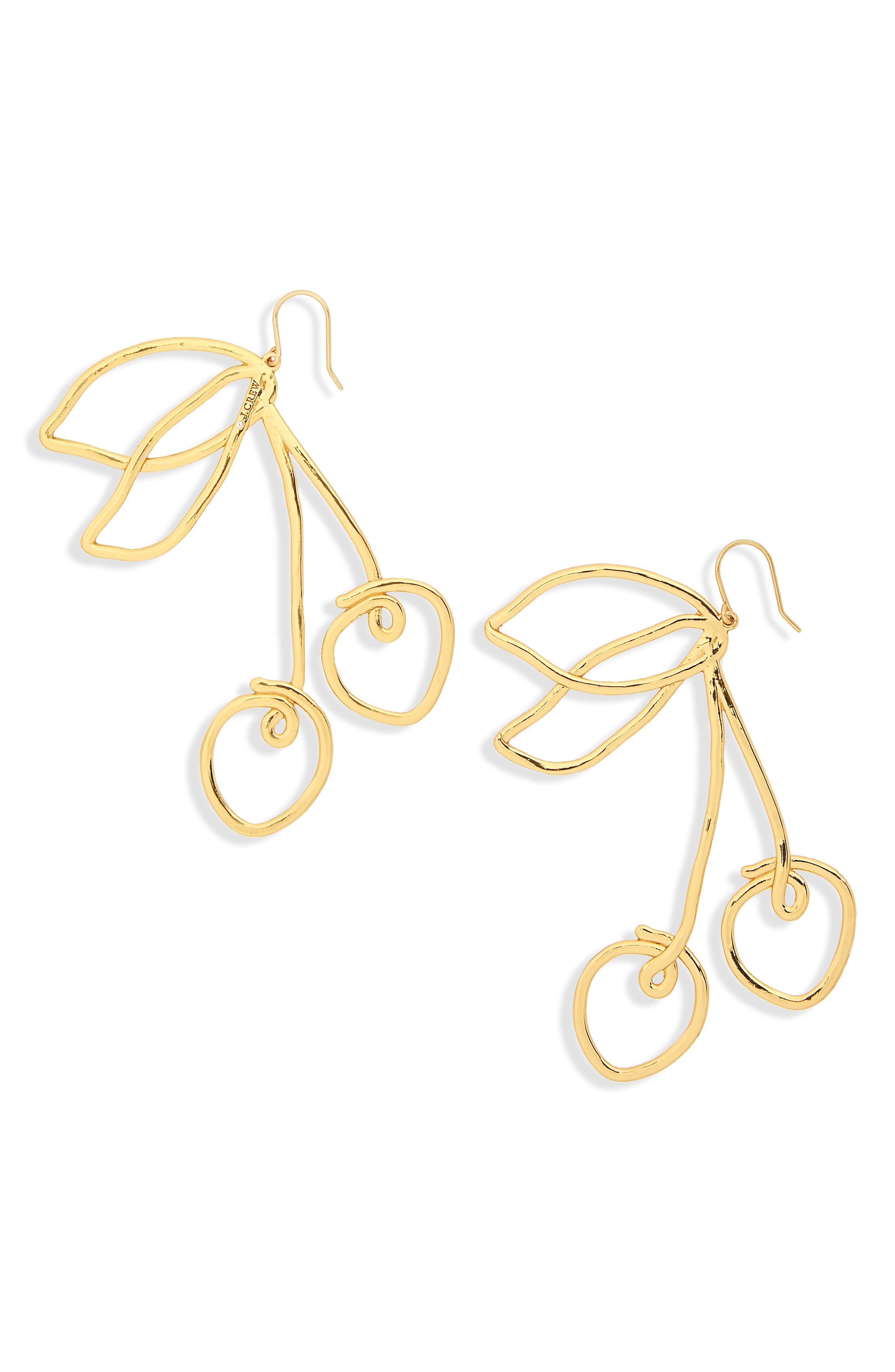 J.Crew Cherry Wire Earrings,                             Main thumbnail 1, color,                             Burnished Gold
