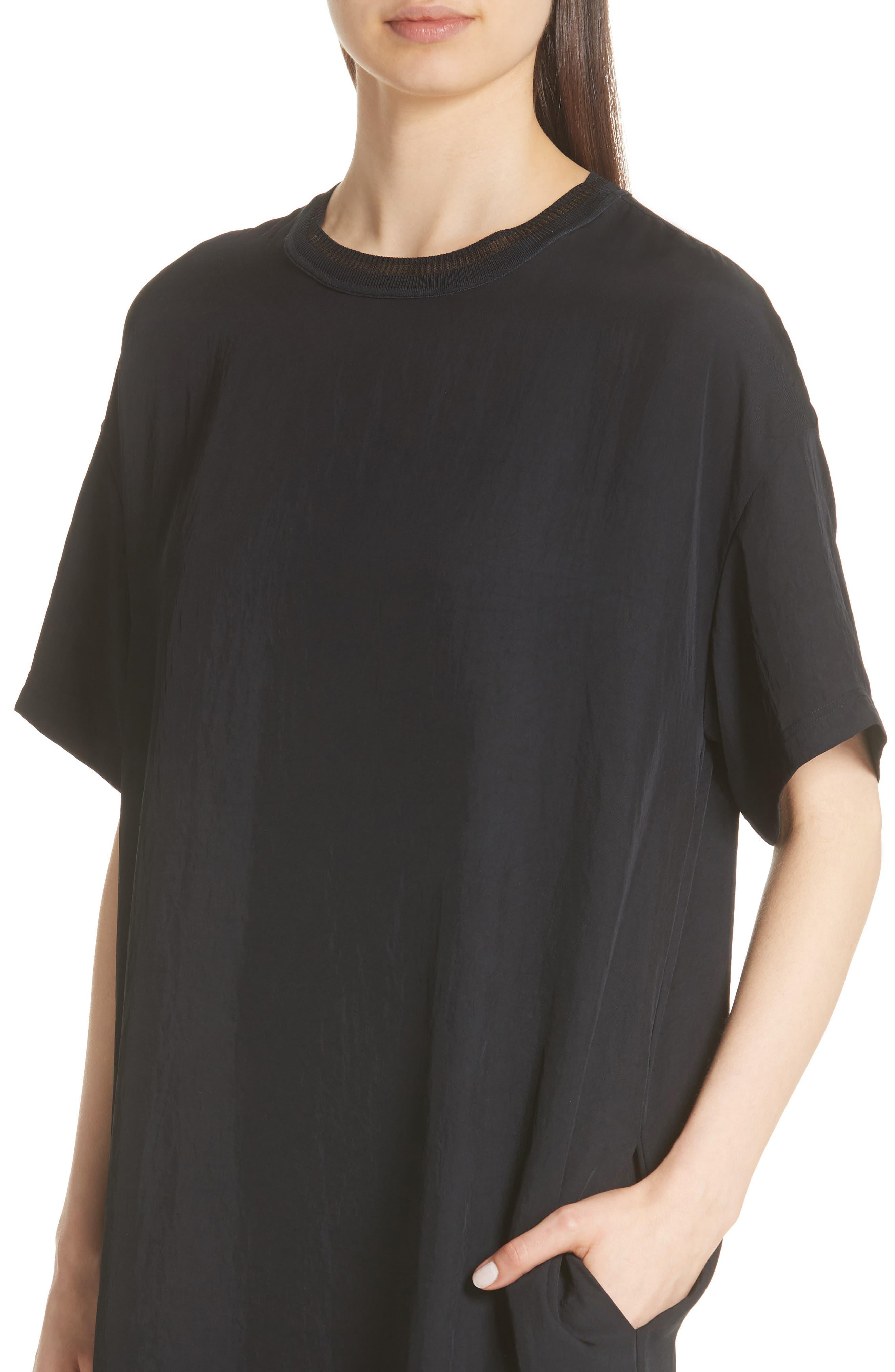 Rib Trim Dress,                             Alternate thumbnail 4, color,                             Black