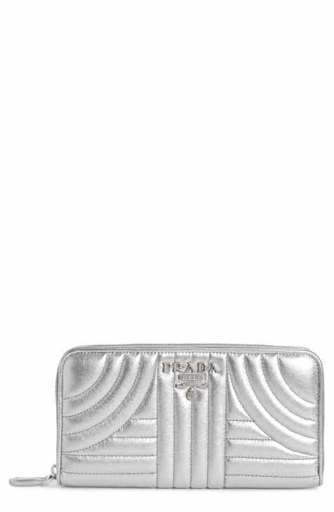 Prada Quilted Leather Zip Around Continental Wallet