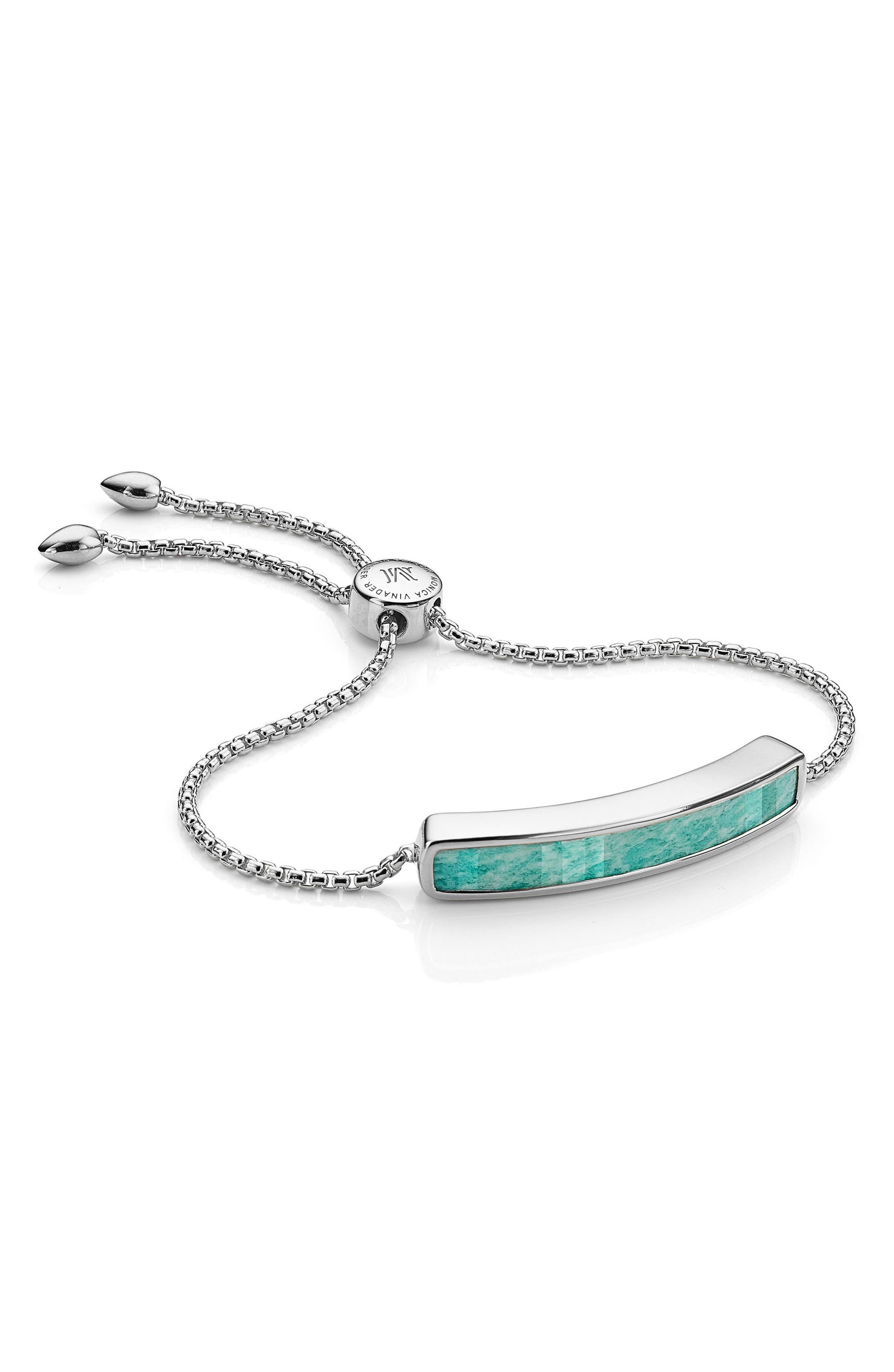 Baja Sterling Stone Bracelet,                             Main thumbnail 1, color,                             Silver/ Amazonite