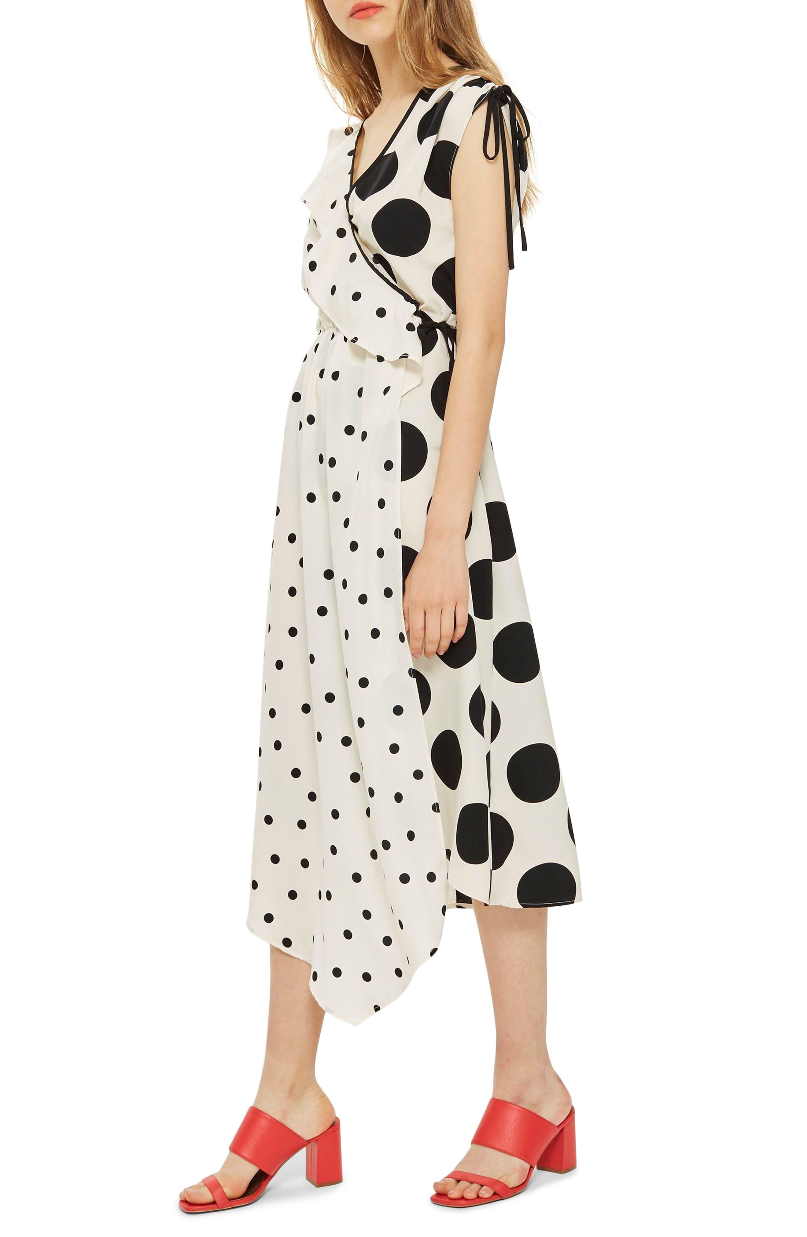 Mix Spot Midi Wrap Dress,                             Alternate thumbnail 3, color,                             White Multi