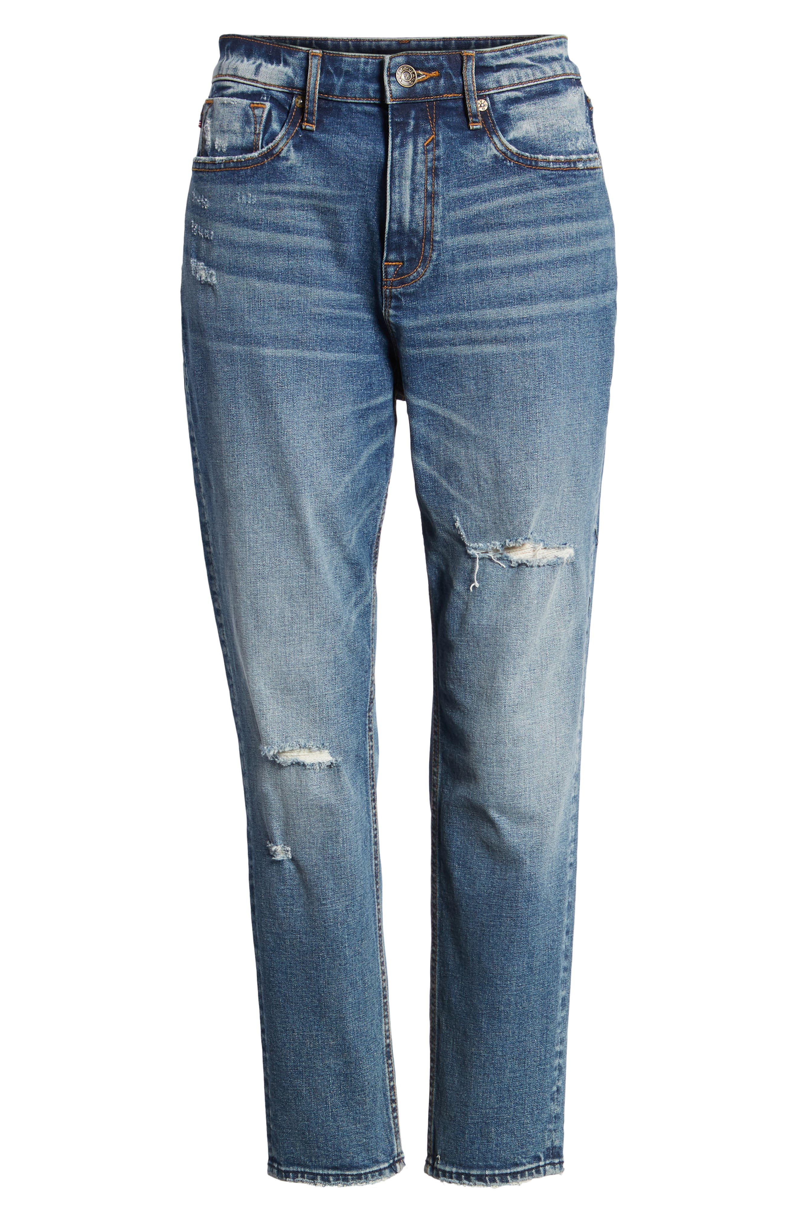 Friday Distressed Tapered Boyfriend Jeans,                             Alternate thumbnail 7, color,                             Medium Wash