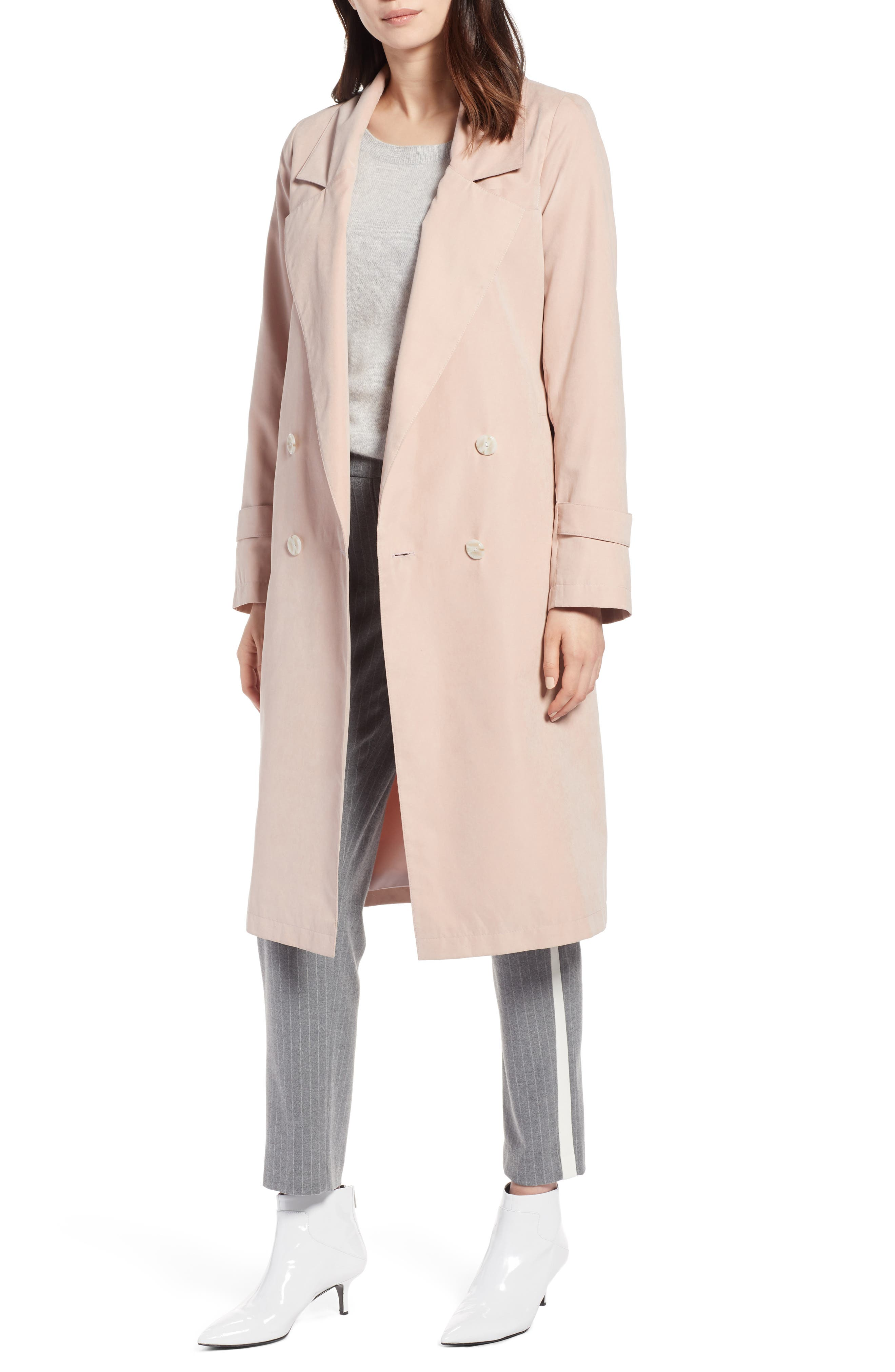 Double Breasted Trench Coat,                             Main thumbnail 1, color,                             Blush