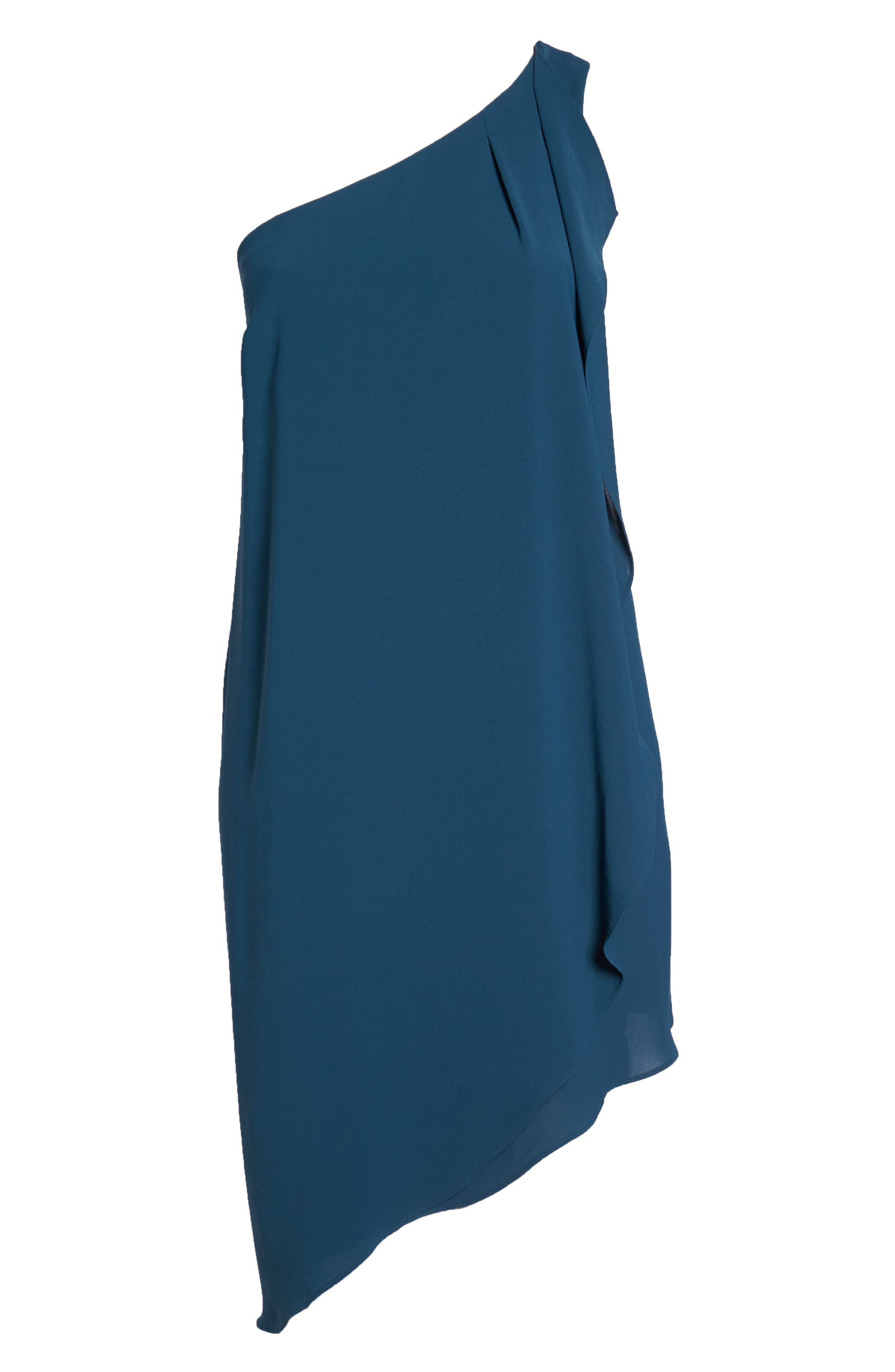 Gauzy One-Shoulder Crepe Dress,                             Alternate thumbnail 6, color,                             Midnight Jungle