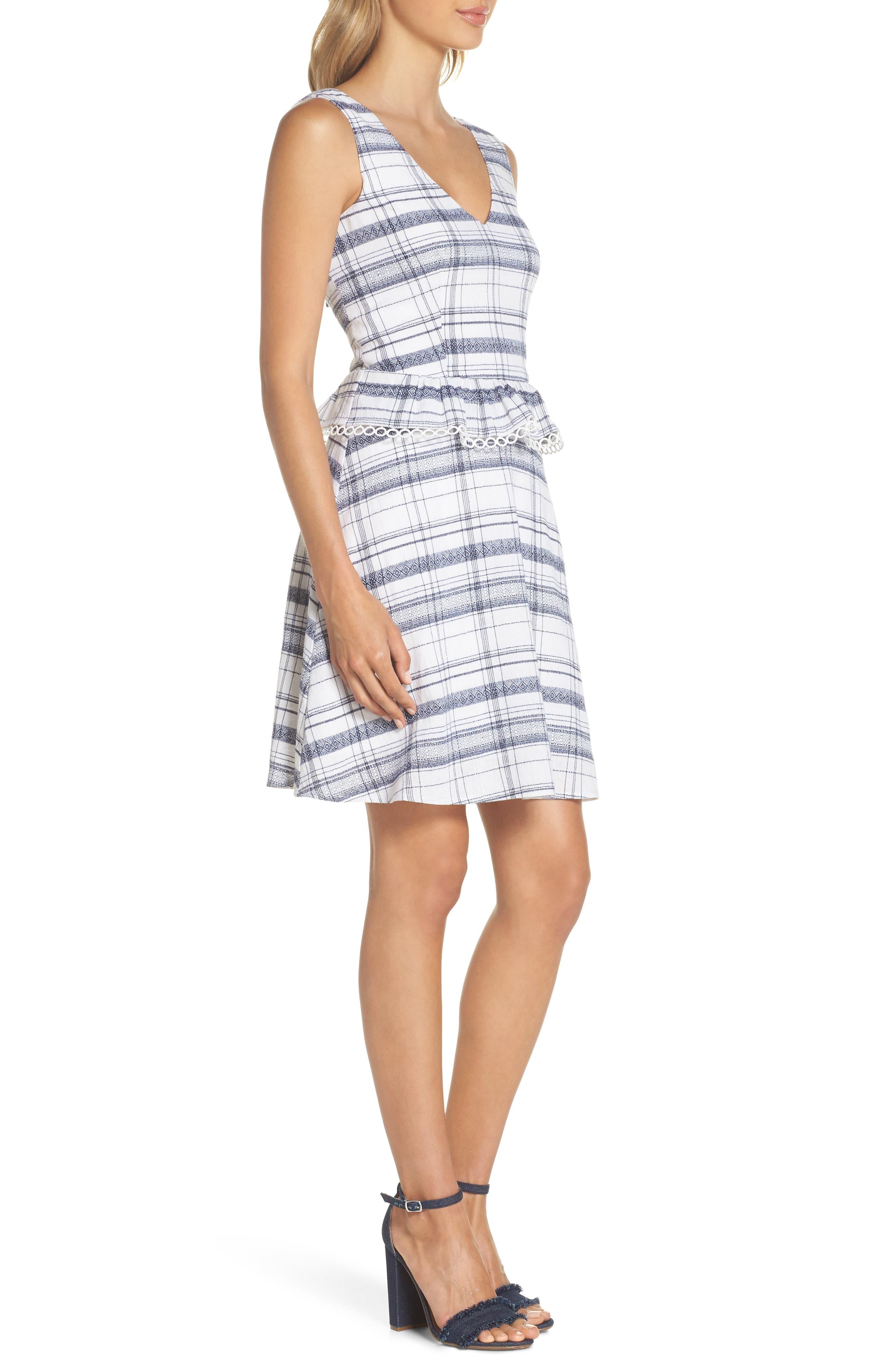 Aubrey Plaid Fit & Flare Dress,                             Alternate thumbnail 3, color,                             Multi