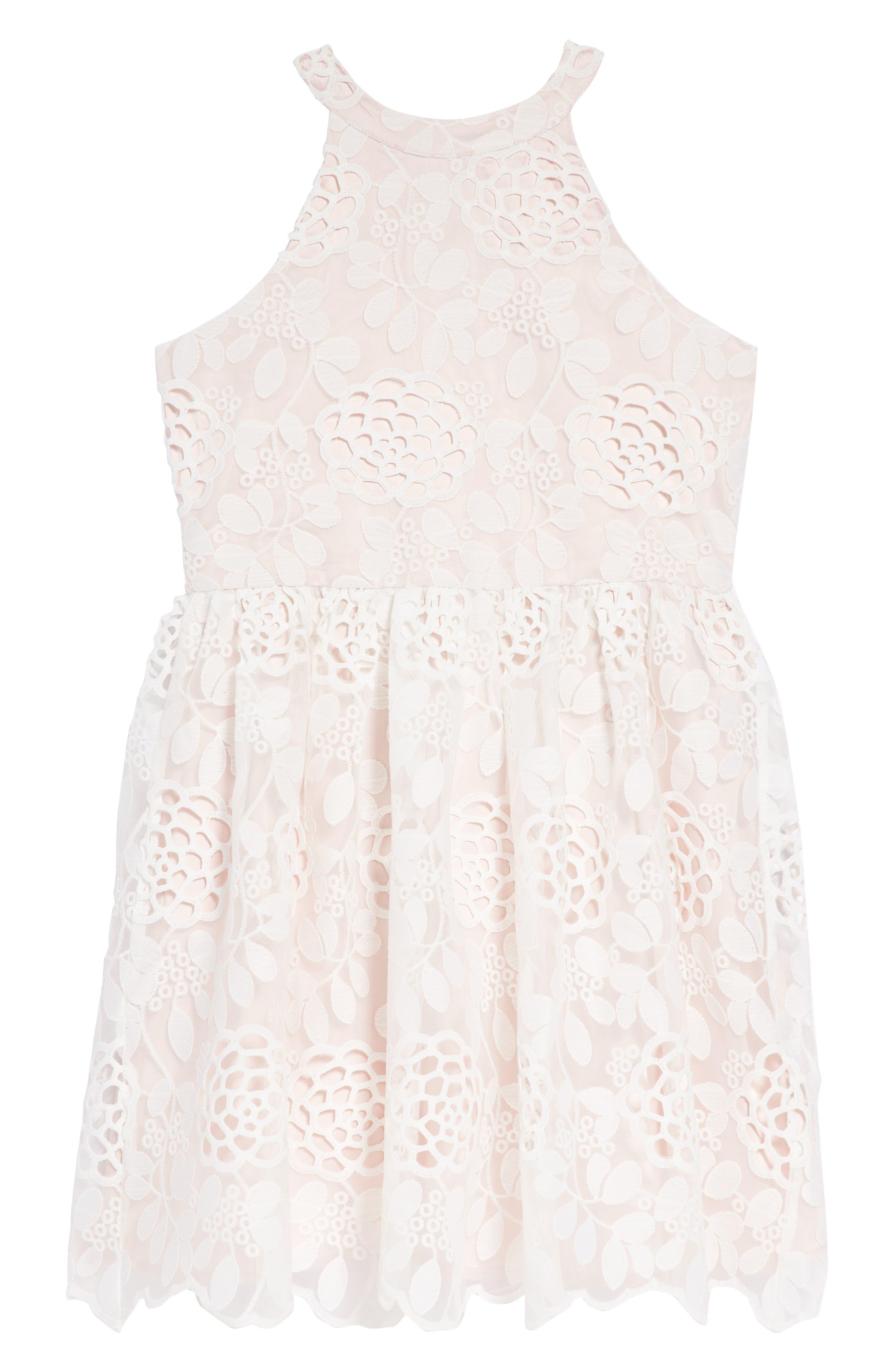 Primrose Lace Dress,                             Main thumbnail 1, color,                             Orchid White