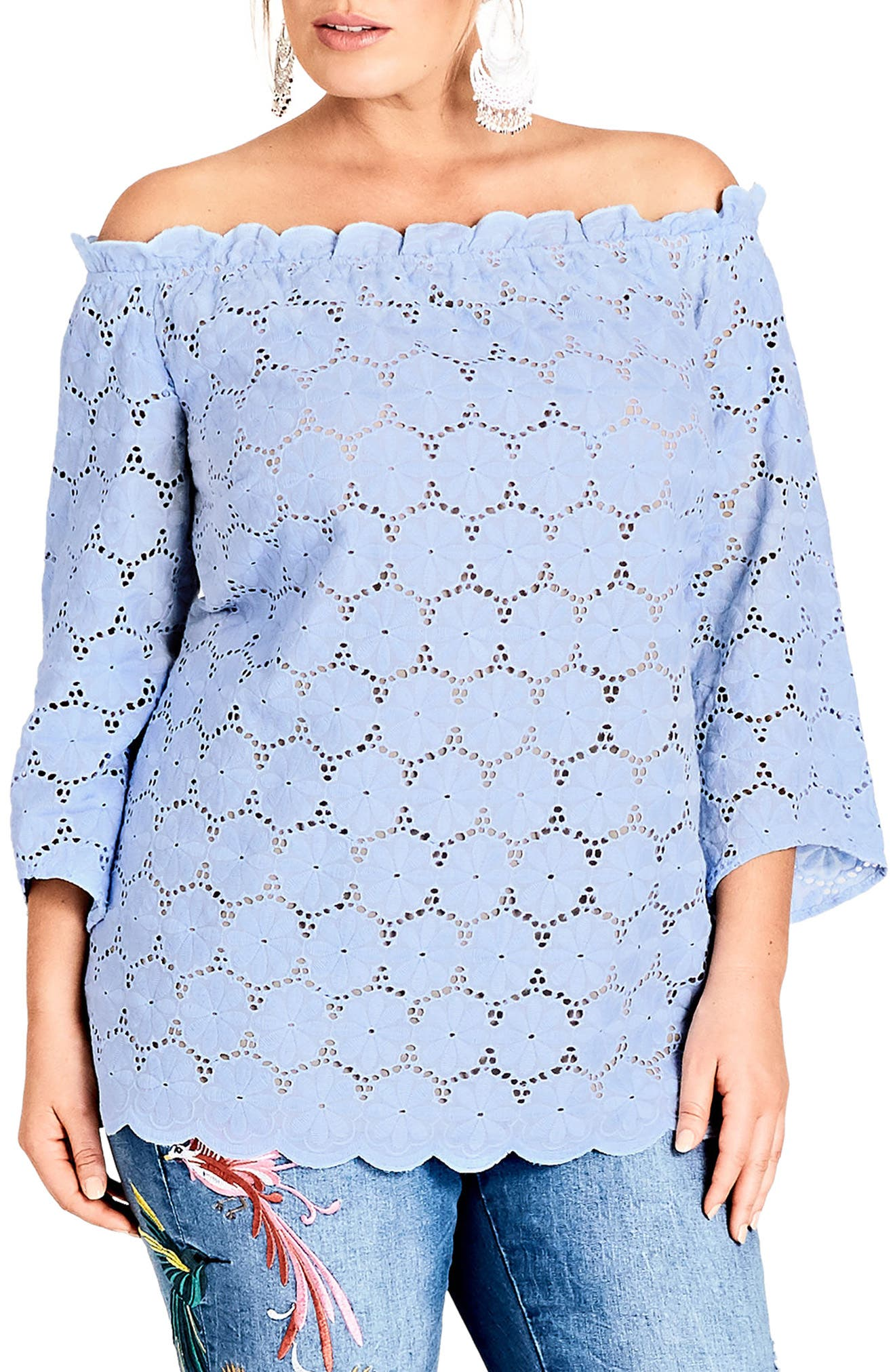 Swiss Affair Lace Off the Shoulder Top,                             Main thumbnail 1, color,                             Powder Blue