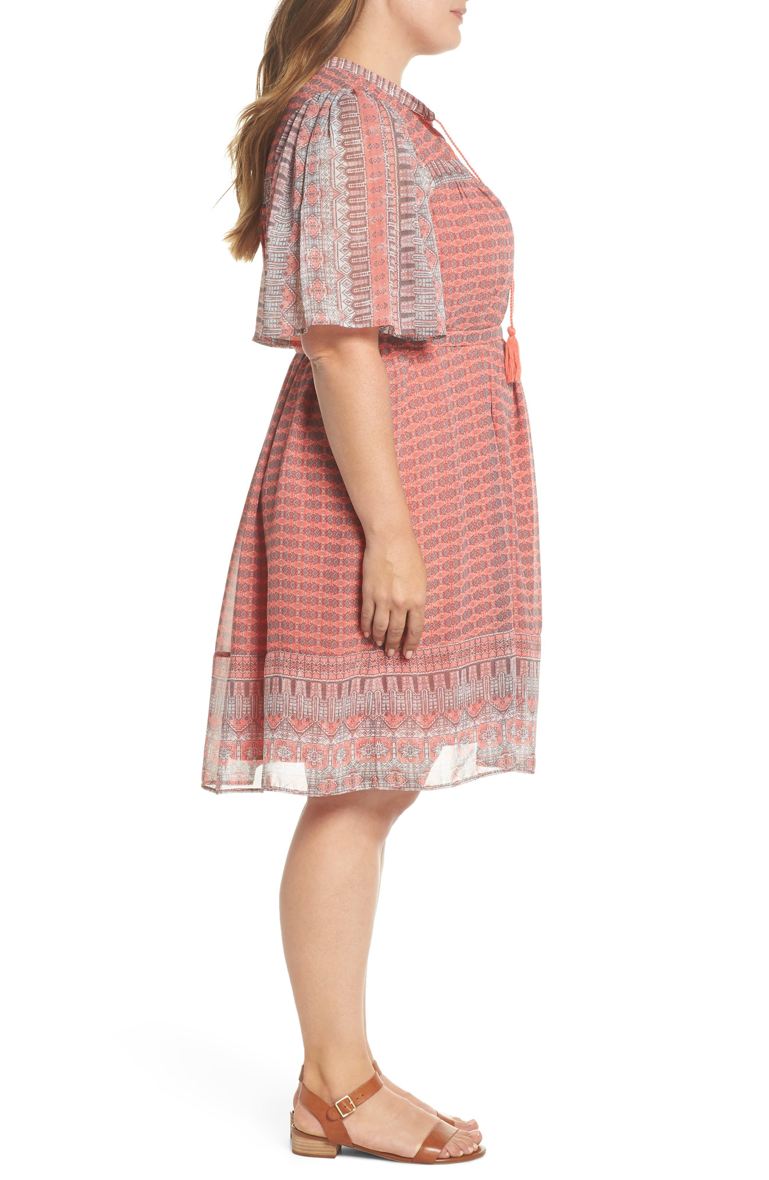 Jenna Print Peasant Dress,                             Alternate thumbnail 2, color,                             Pink Multi