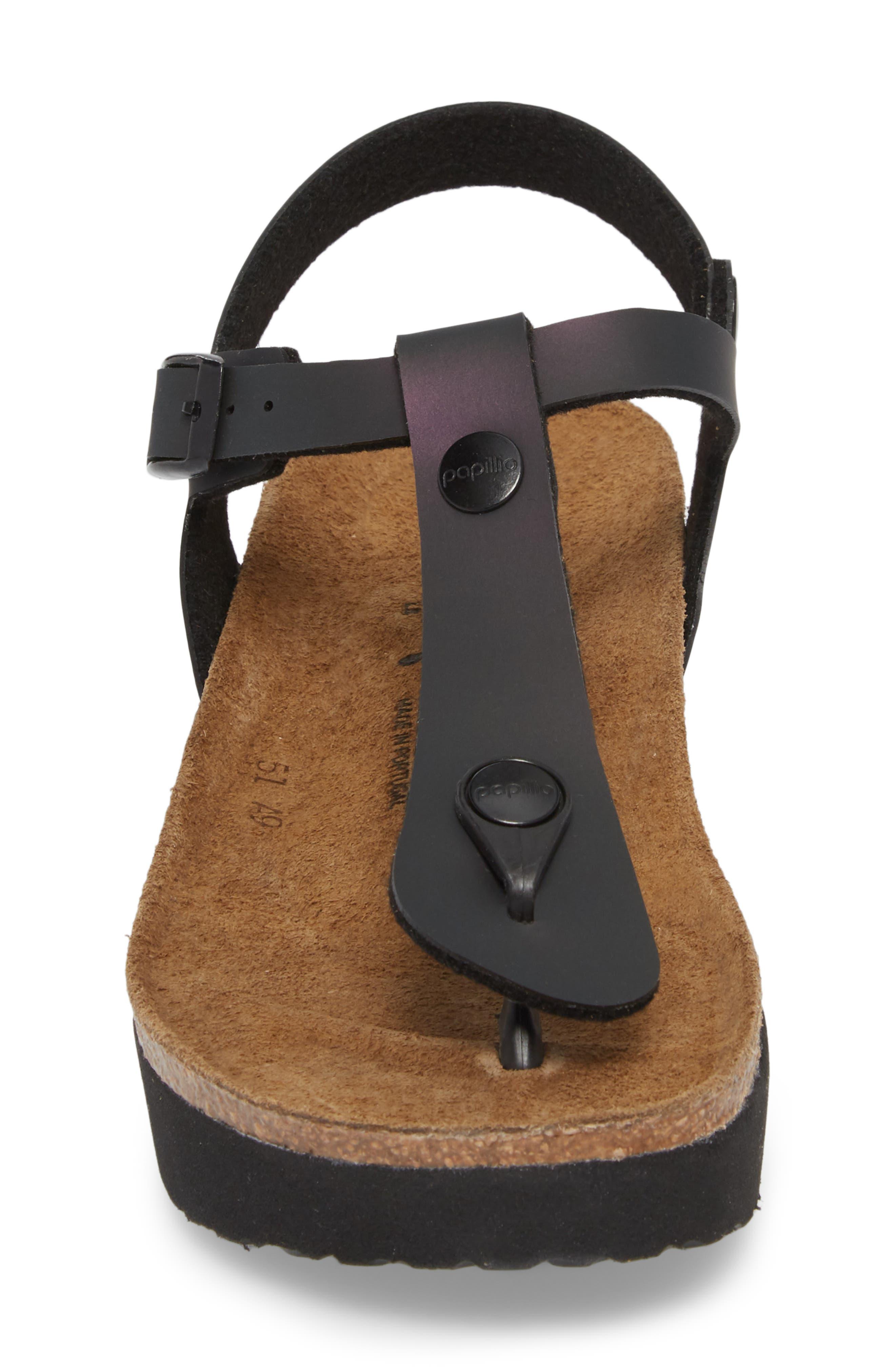 Ashley Sandal,                             Alternate thumbnail 4, color,                             Iridescent Black Leather