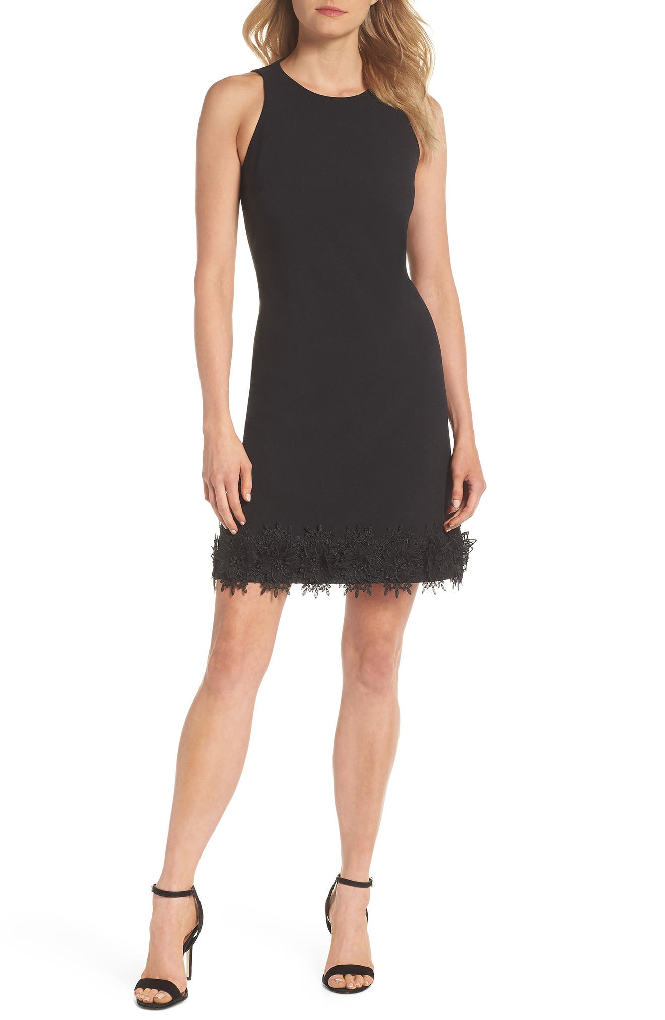 Julia Jordan Sleeveless Lace Hem Sheath Dress