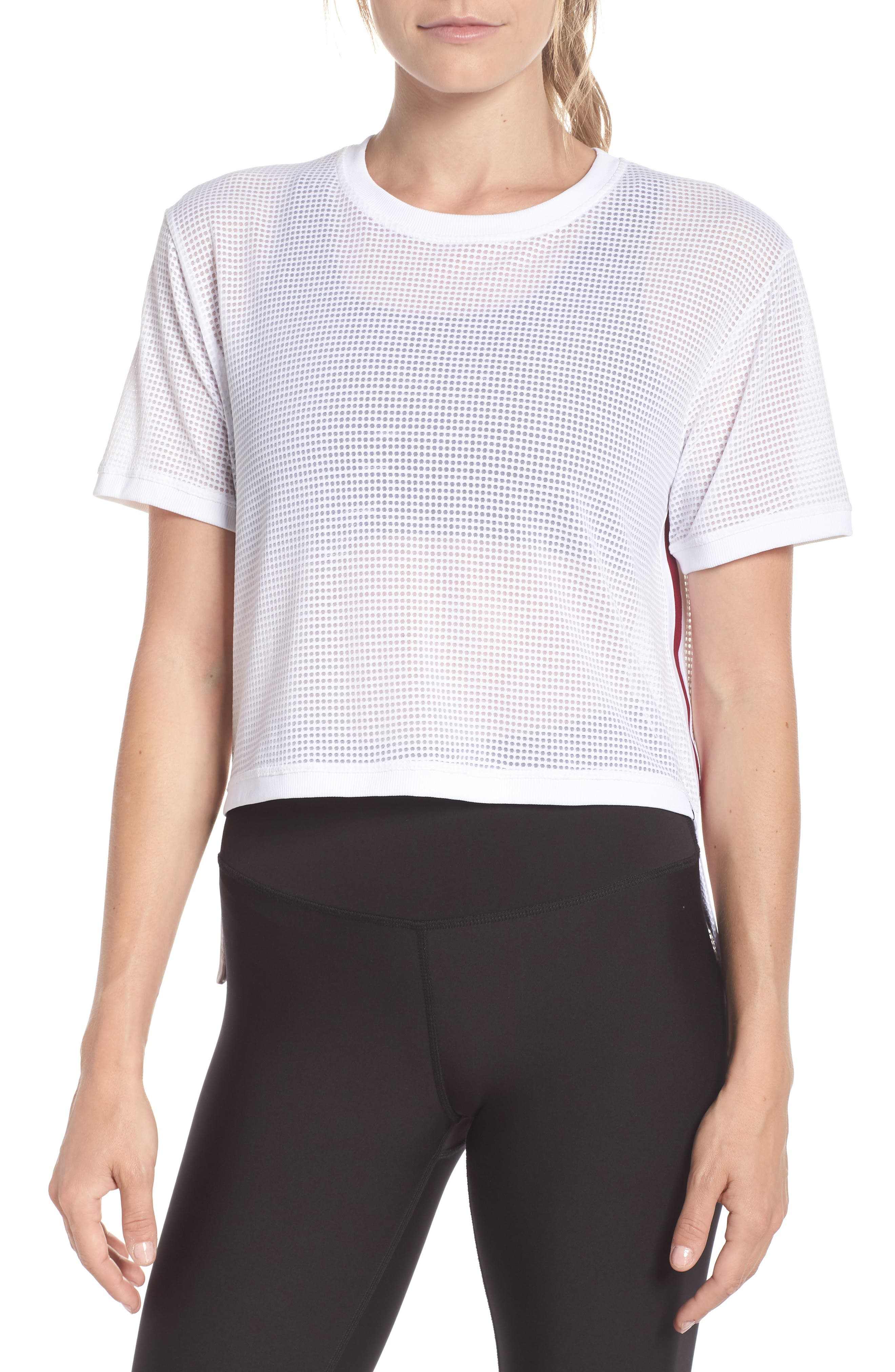 High/Low Mesh Tee,                         Main,                         color, White