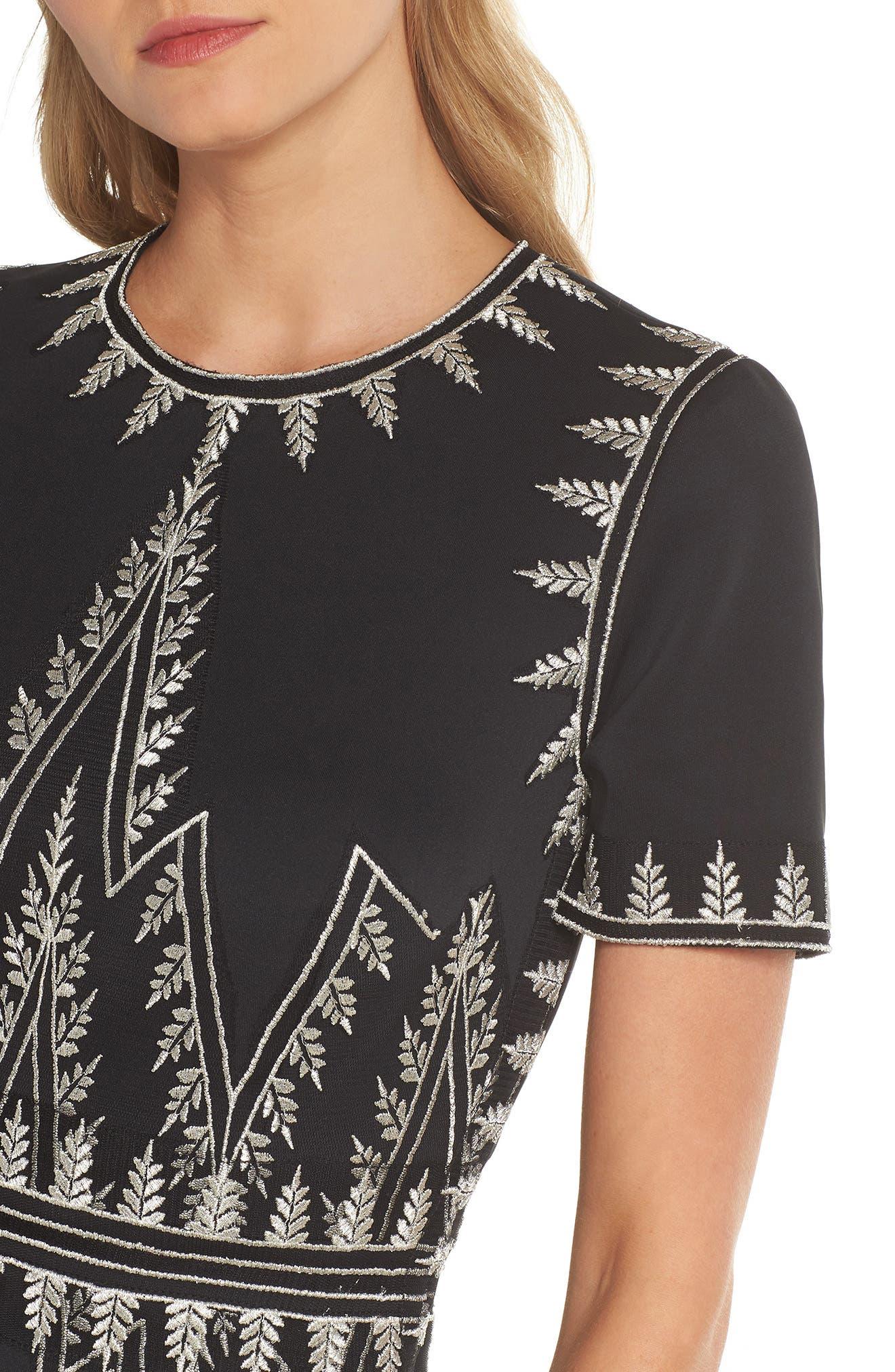 Embroidered Chevron Dress,                             Alternate thumbnail 4, color,                             Black/ Silver