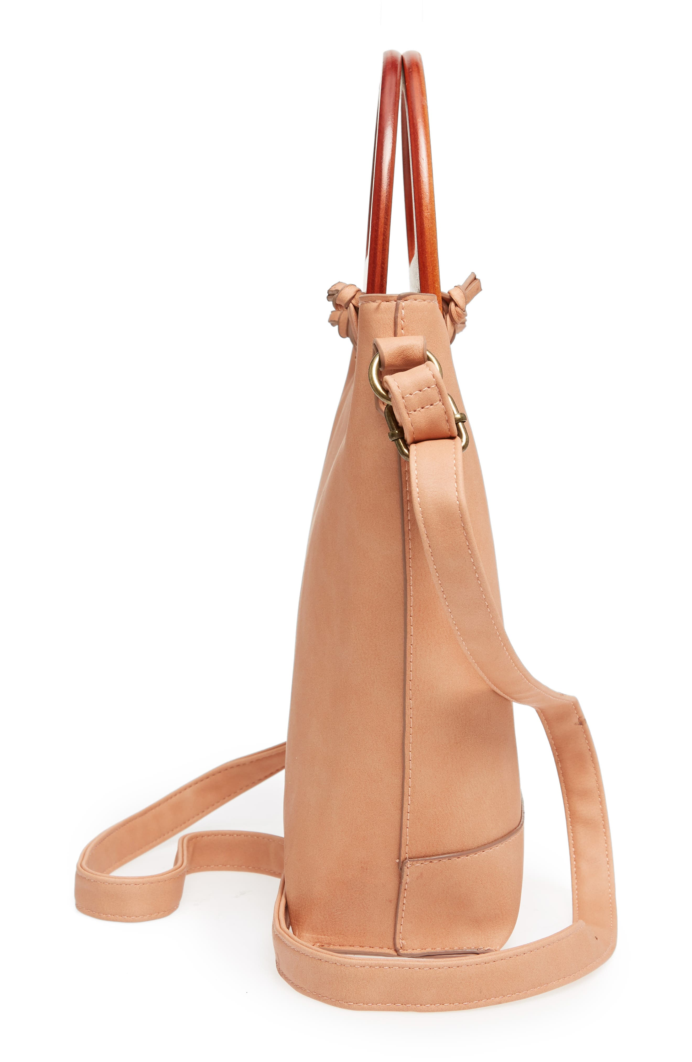 Wood Handle Stitched Tote,                             Alternate thumbnail 5, color,                             Clay