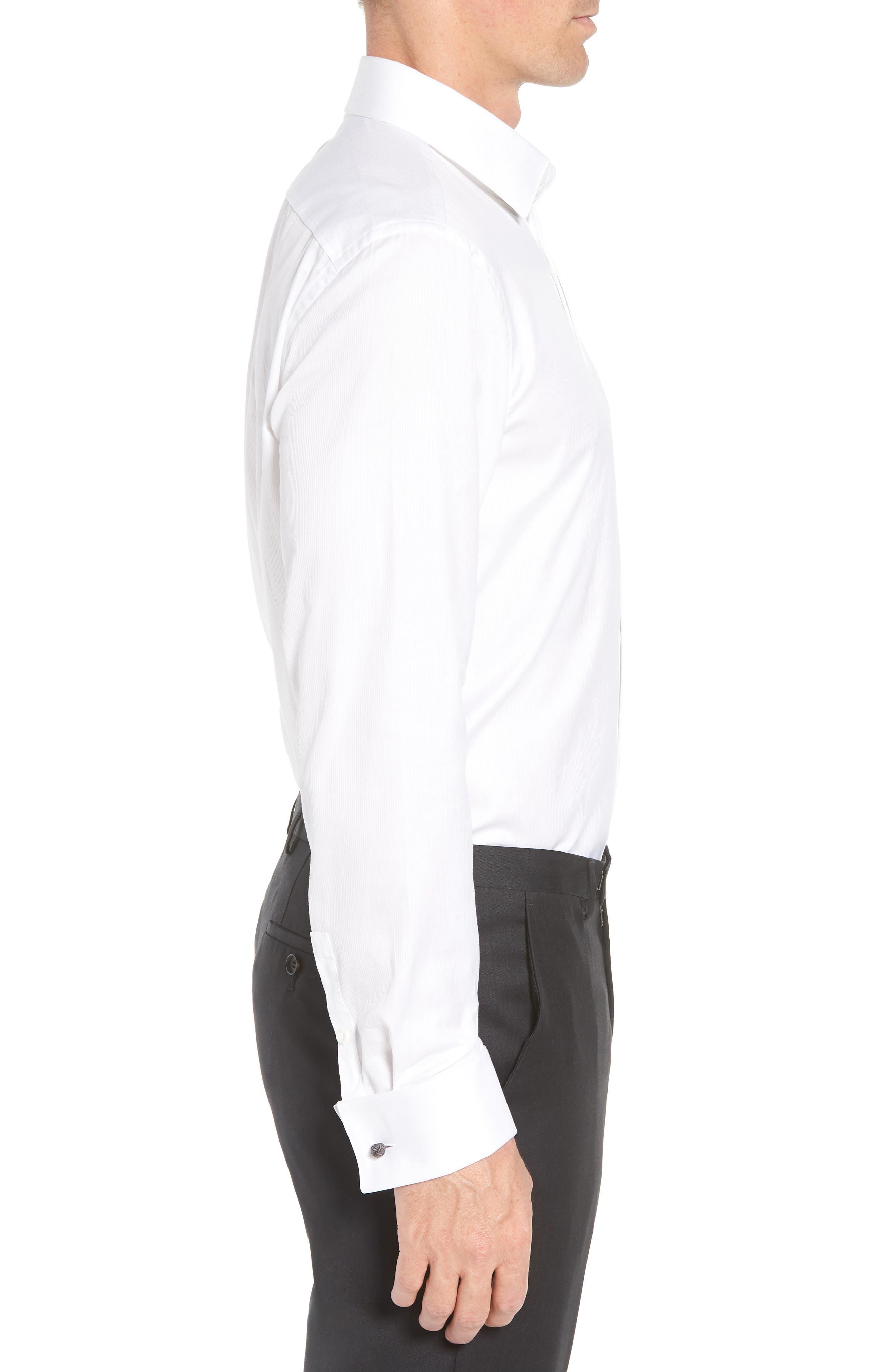 Myron Sharp Fit Tuxedo Shirt,                             Alternate thumbnail 4, color,                             White