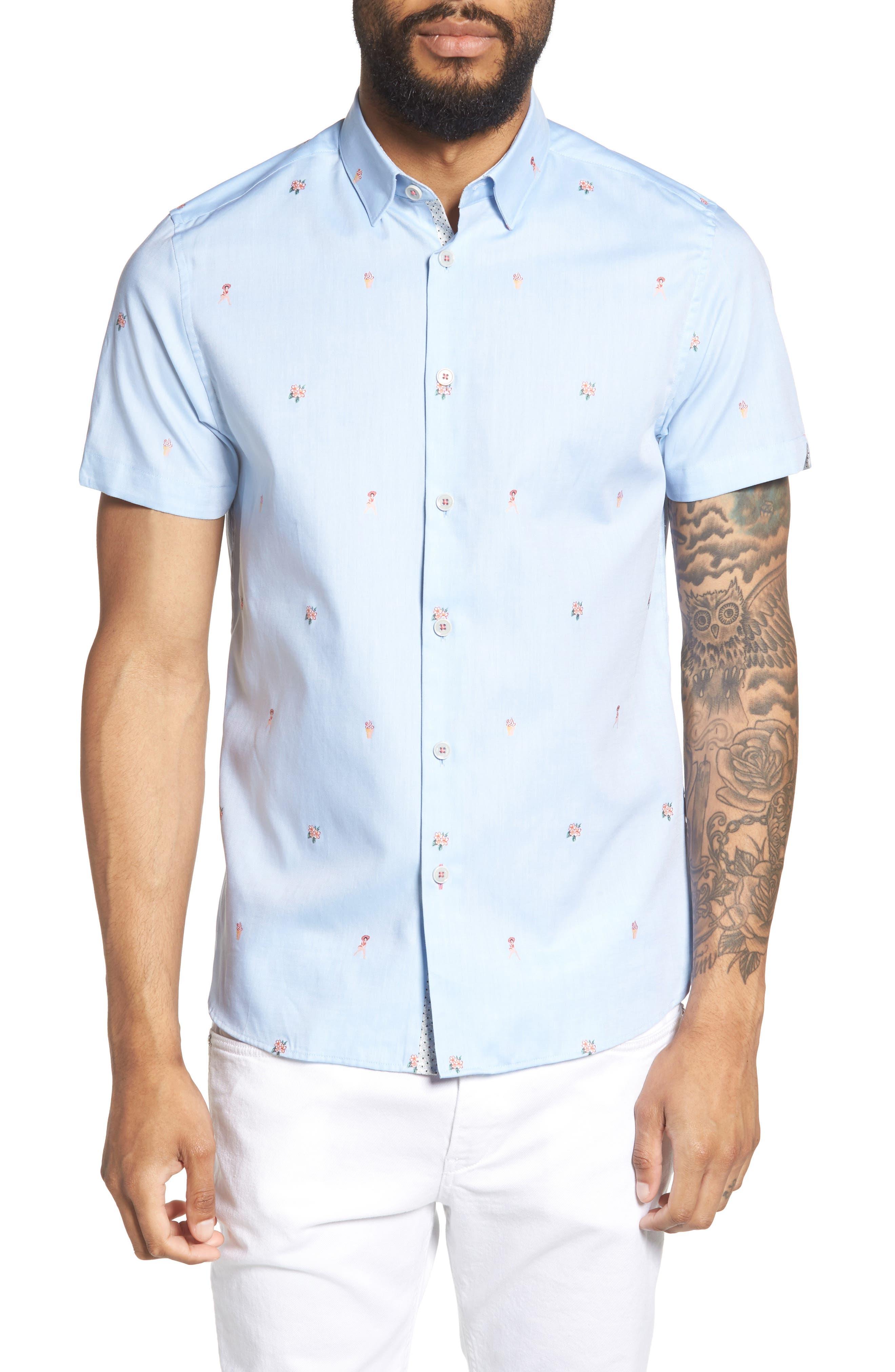 Aloha Trim Fit Sport Shirt,                         Main,                         color, Blue