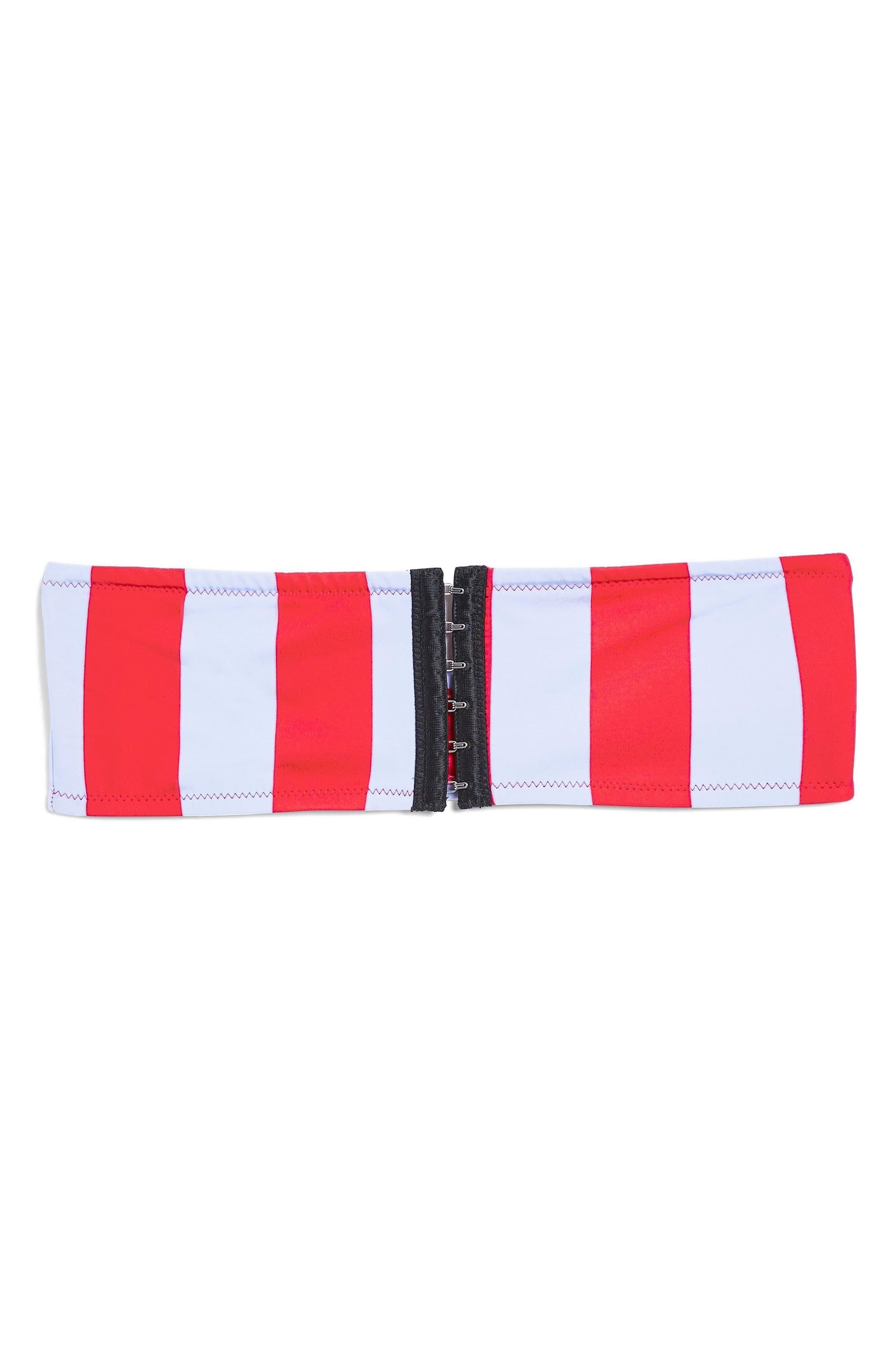 Stripe Bandeau Bikini Top,                             Alternate thumbnail 3, color,                             Red Multi