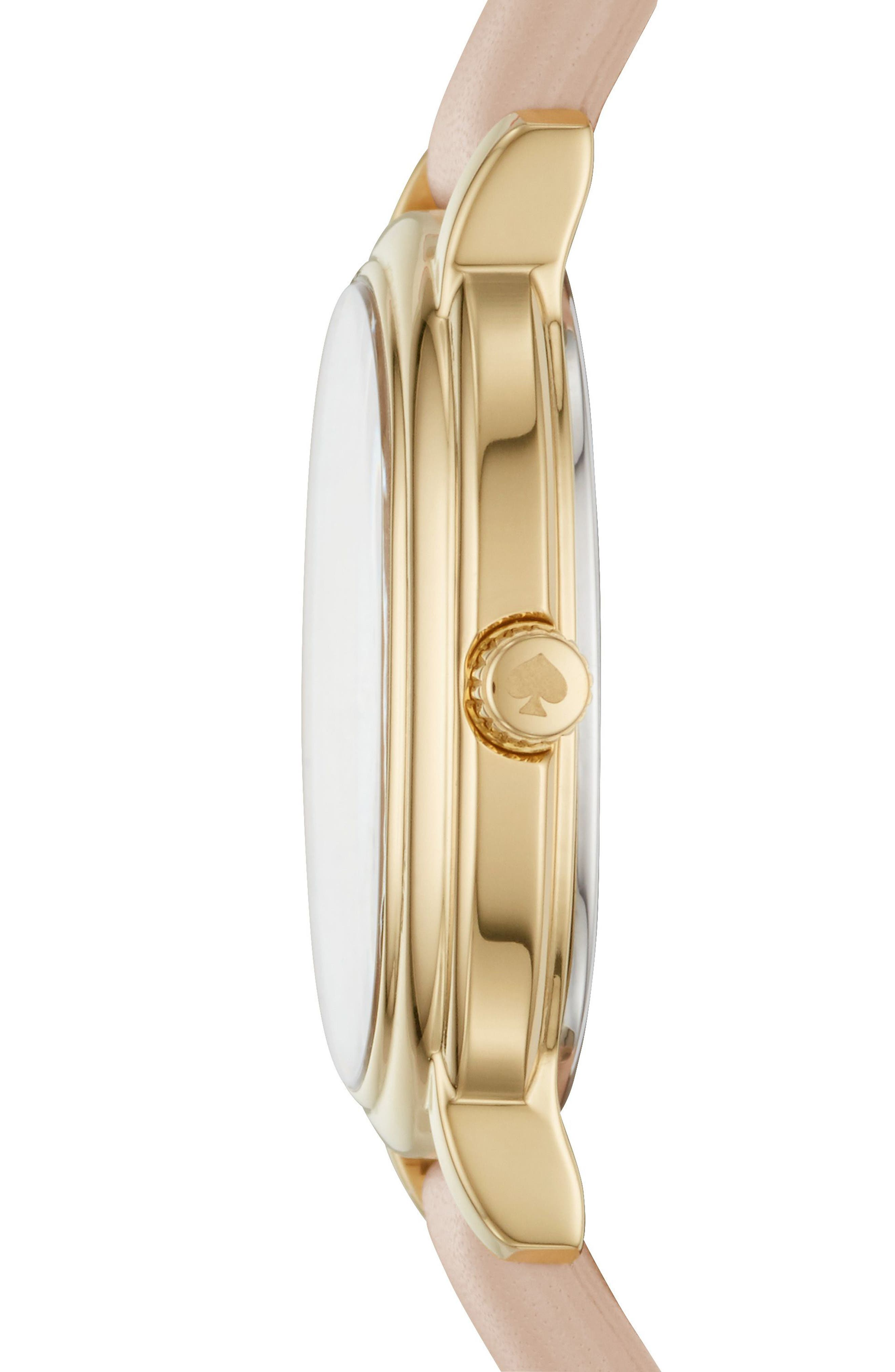 staten leather strap watch, 25mm,                             Alternate thumbnail 2, color,                             Nude/ White/ Gold