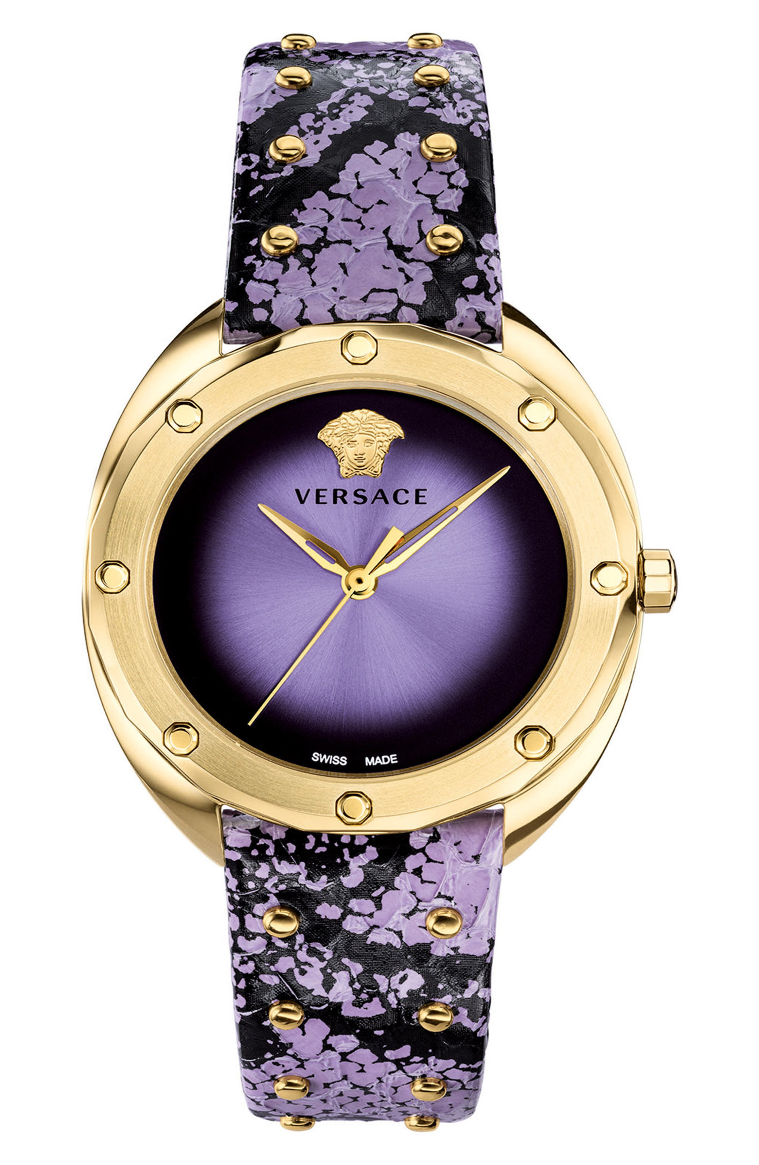 Shadov Snakeskin Leather Strap Watch, 38mm,                             Main thumbnail 1, color,                             Purple/ Gold
