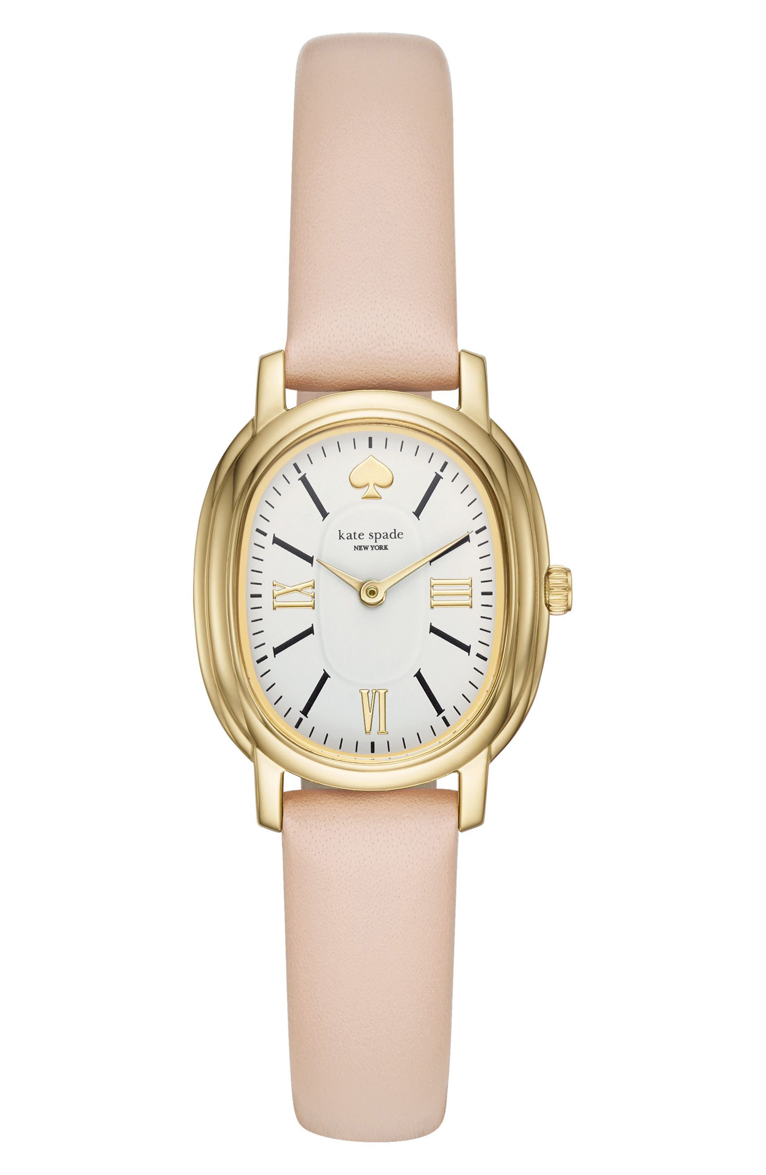 staten leather strap watch, 25mm,                             Main thumbnail 1, color,                             Nude/ White/ Gold